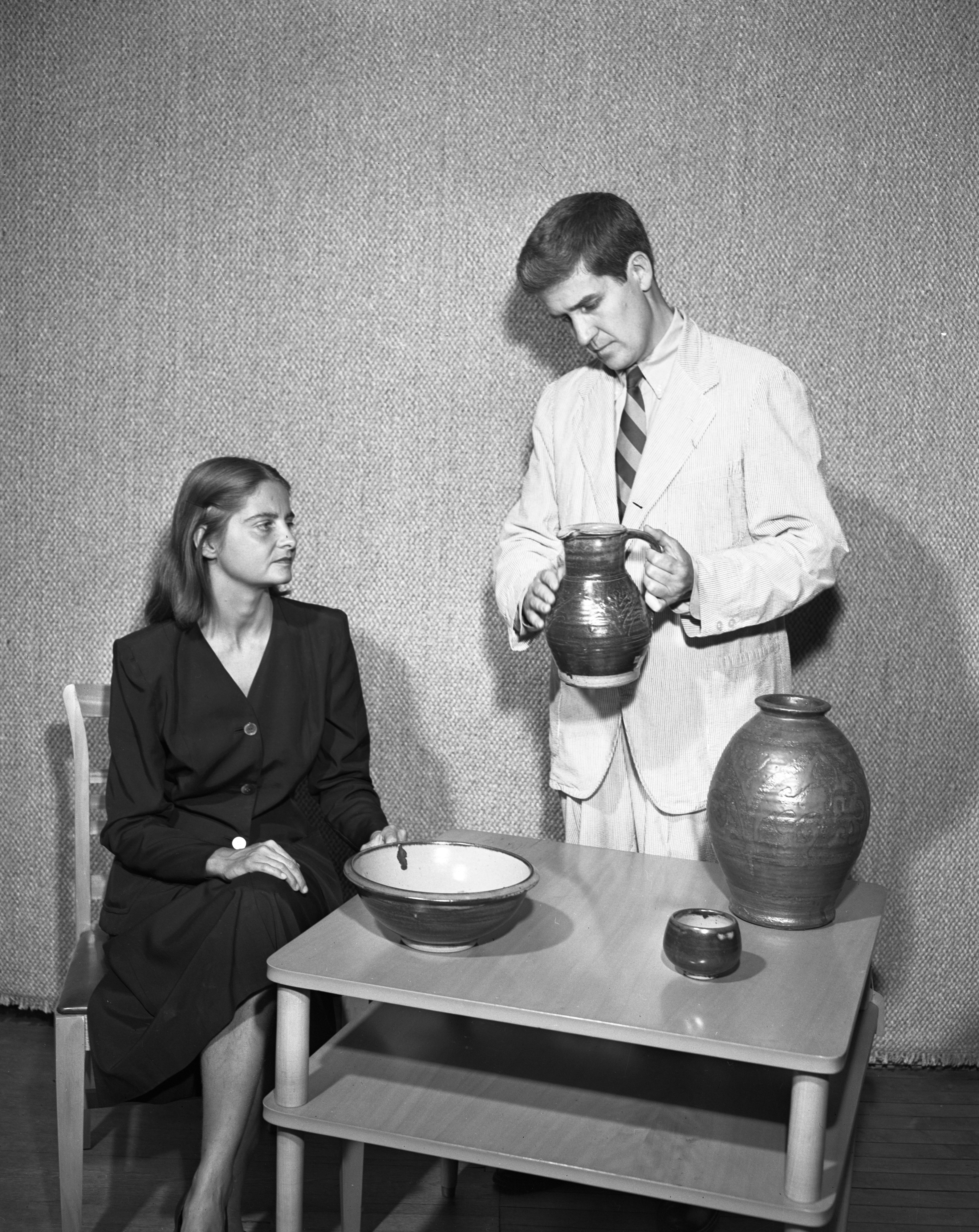 Display of Bernard Leach's Pottery, July 1950 image
