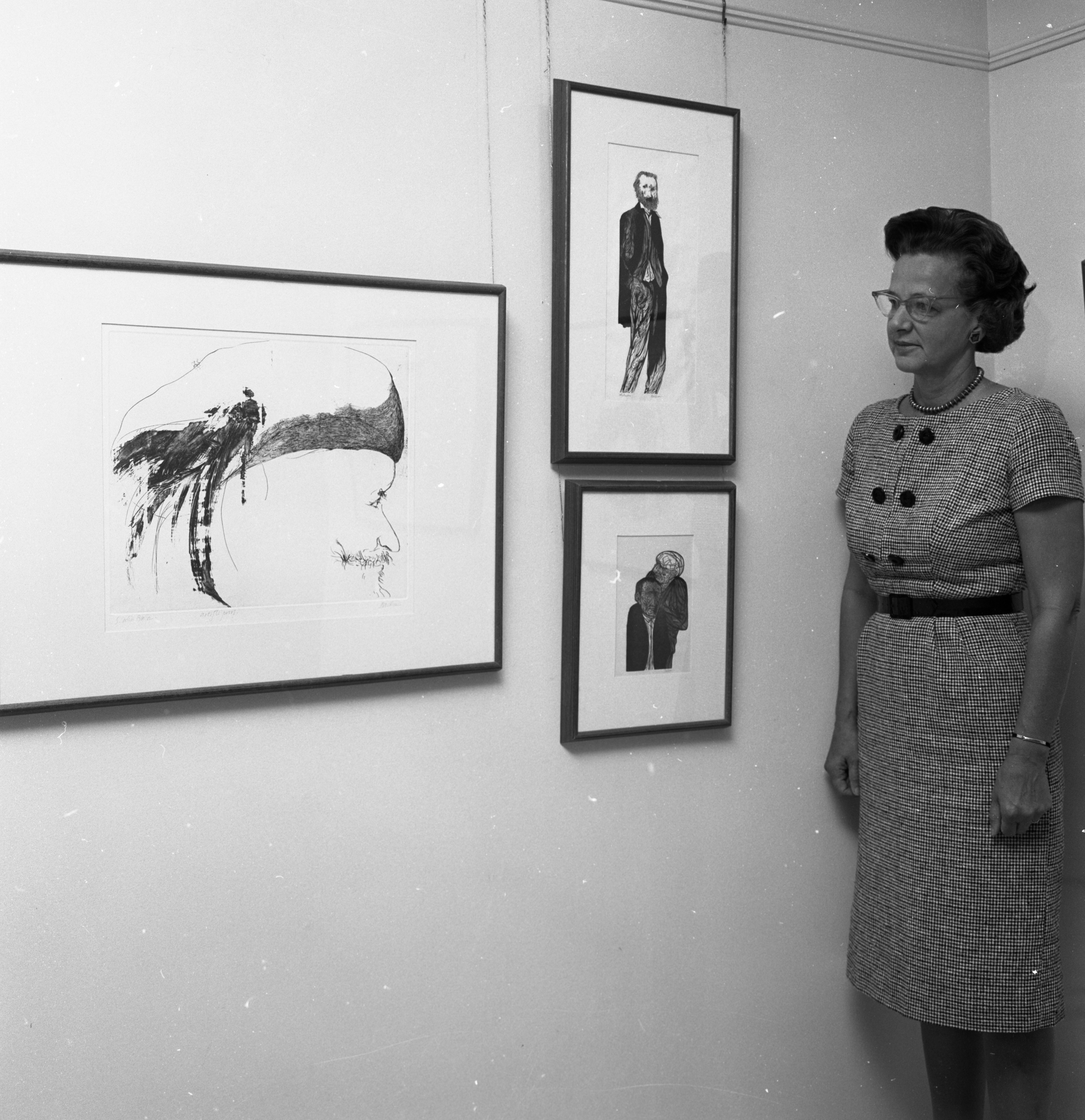 Forsythe Gallery Owner Jessie Winchell Forsythe Examines Etchings, September 1963 image