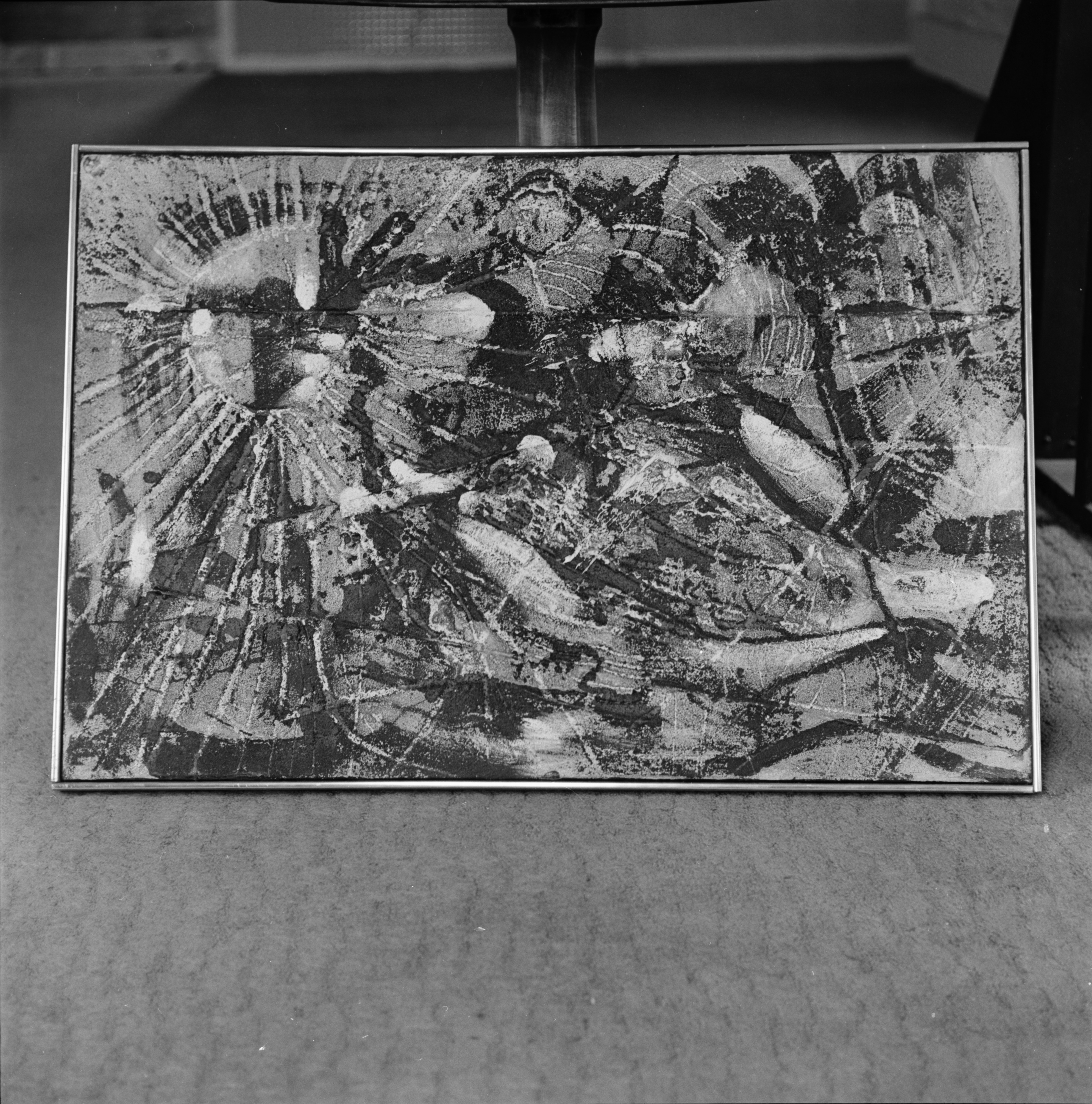 Gerome Kamrowski painting at Lantern Gallery, April 1966 image