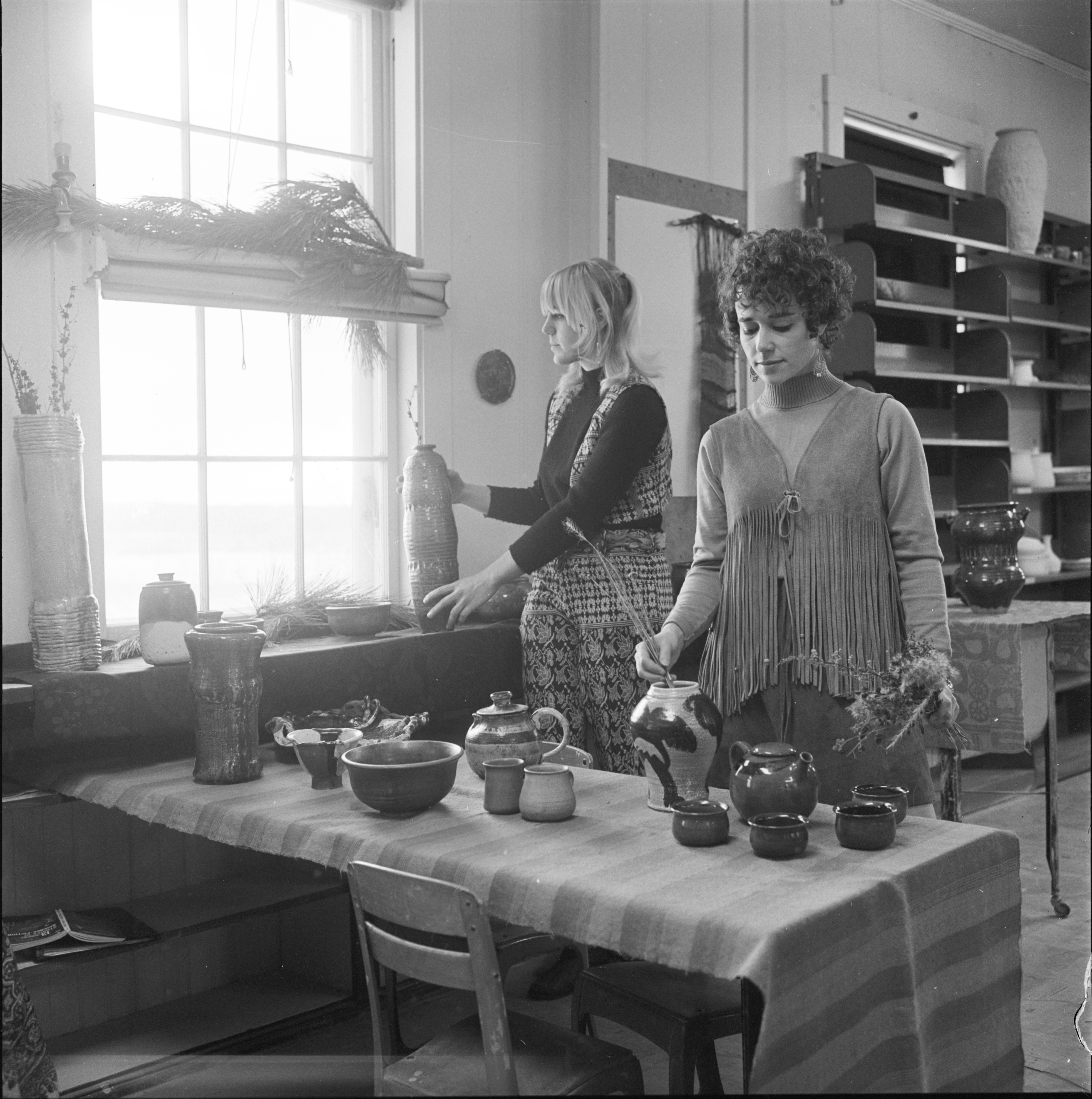 Carol Kieft & Priscilla Dijkman Inside The Schoolhouse Pottery Studio, December 1969 image