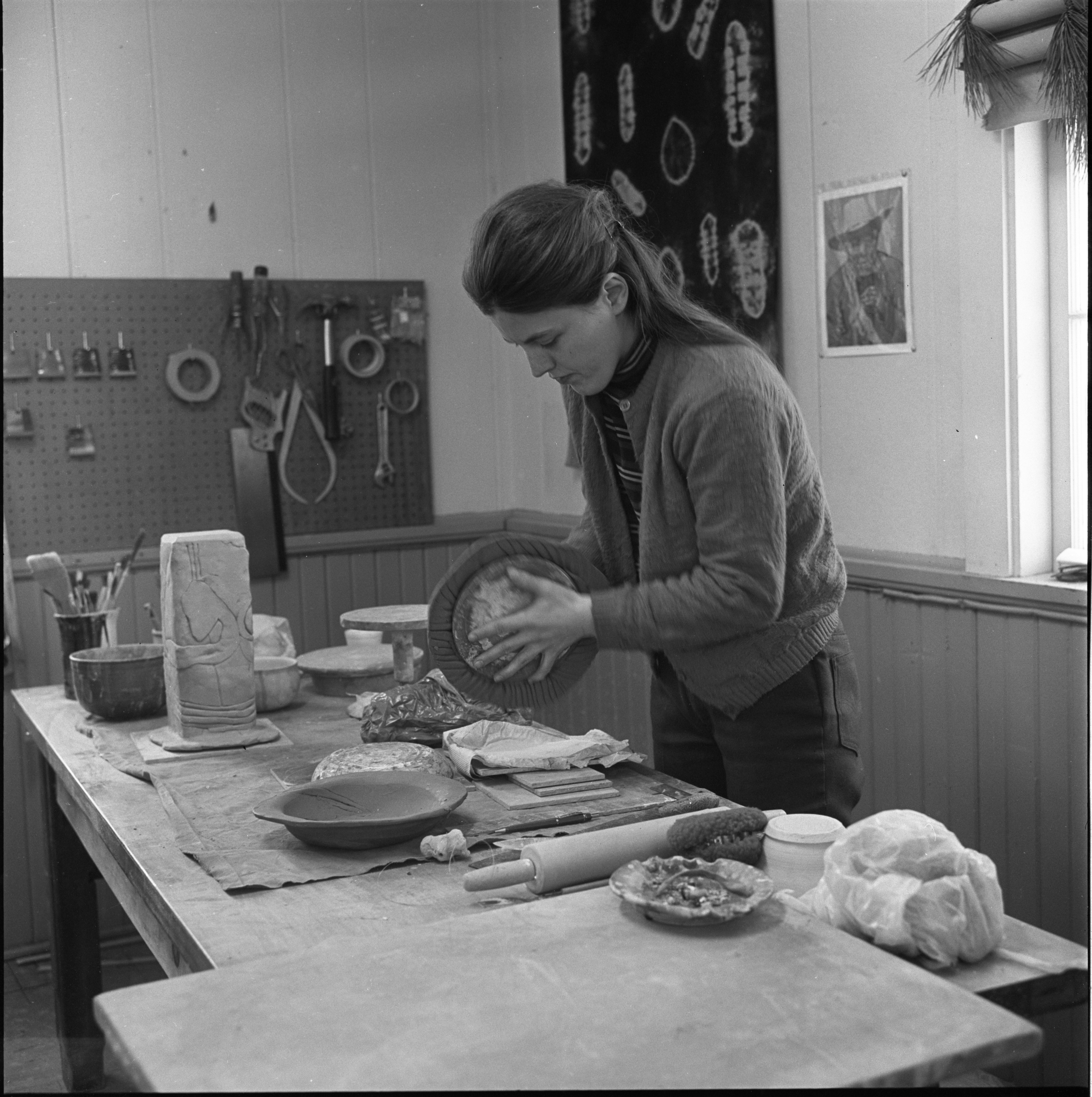 Linda Moody Works On A Project In The Schoolhouse Pottery Studio, December 1969 image