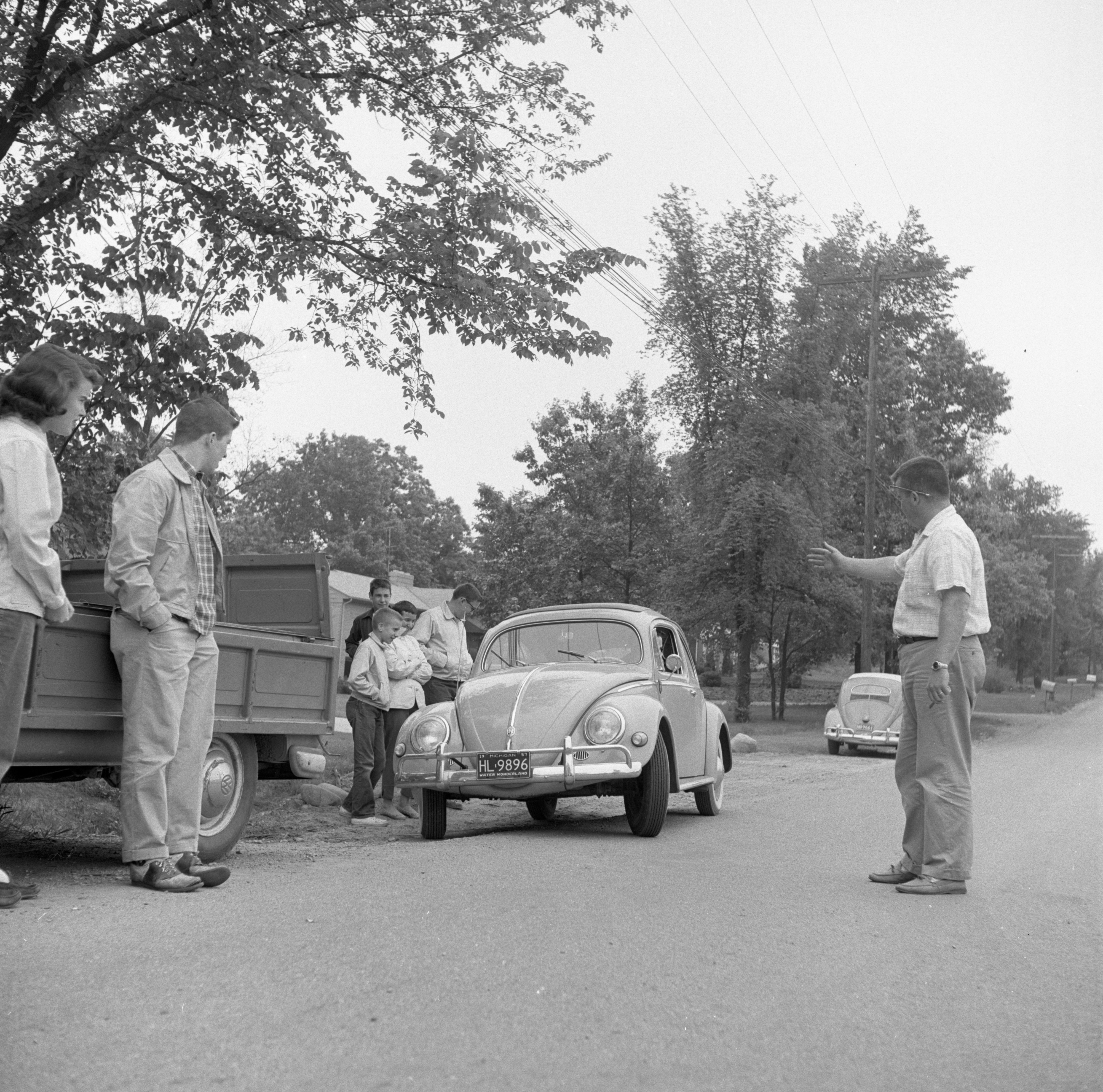 A Volkswagen Clears The Arlington/Devonshire Check Point In The Foreign Car Road Rally, June 1957 image