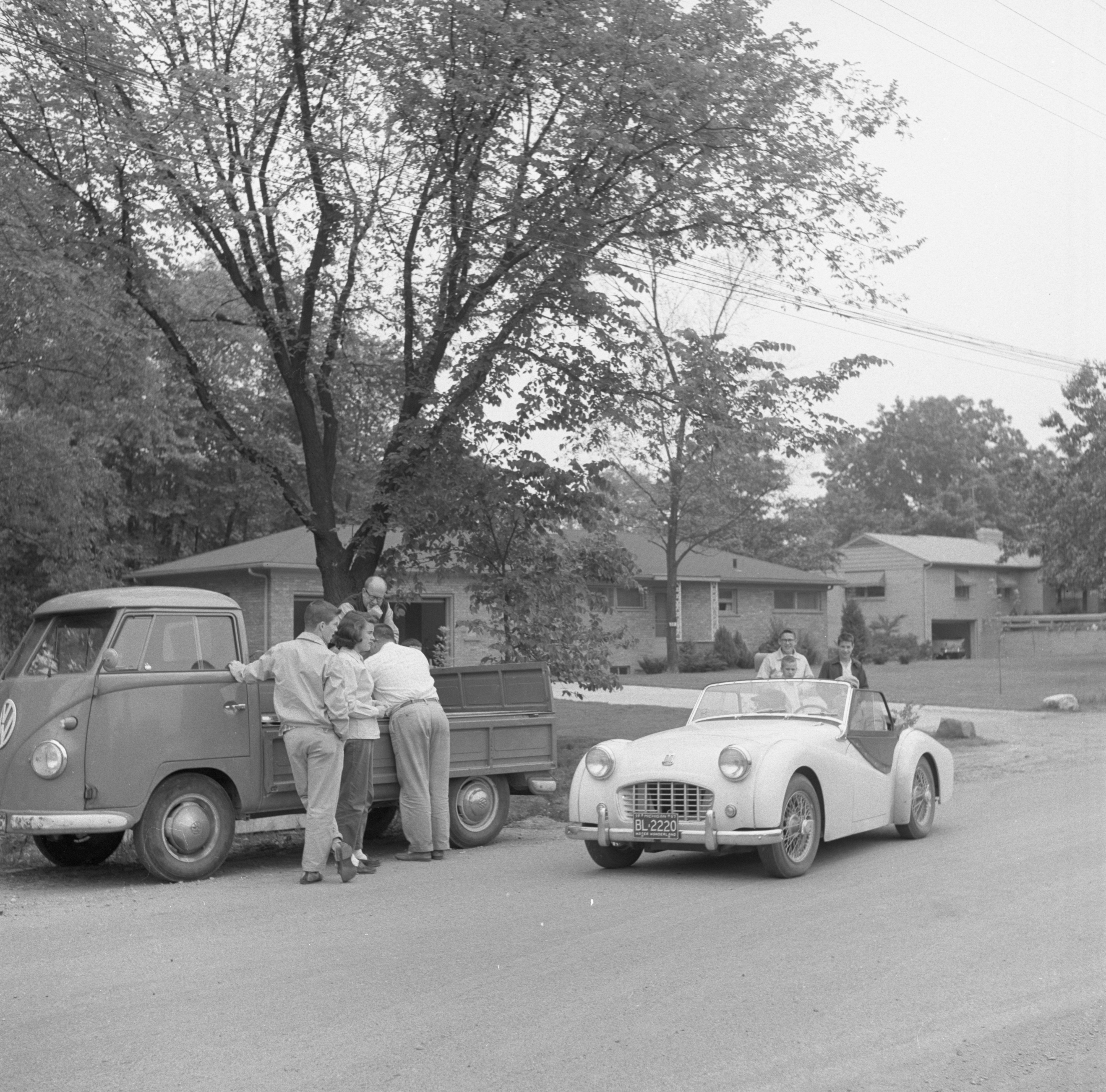 A Driver Reaches The Arlington/Devonshire Check Point In The Foreign Car Road Rally, June 1957 image