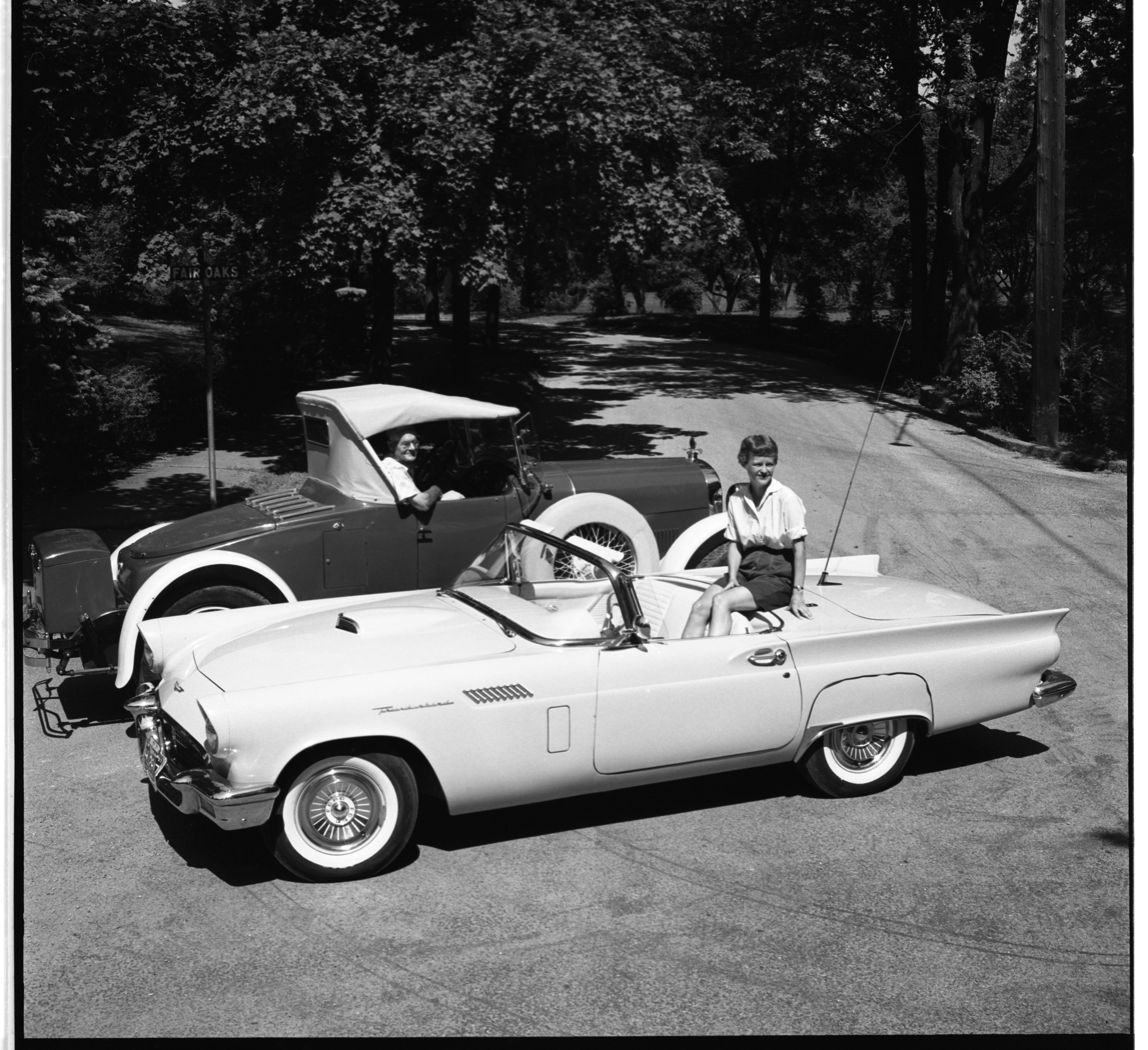 1923 Haynes Roadster & 1957 Ford Thunderbird, August 1957 image