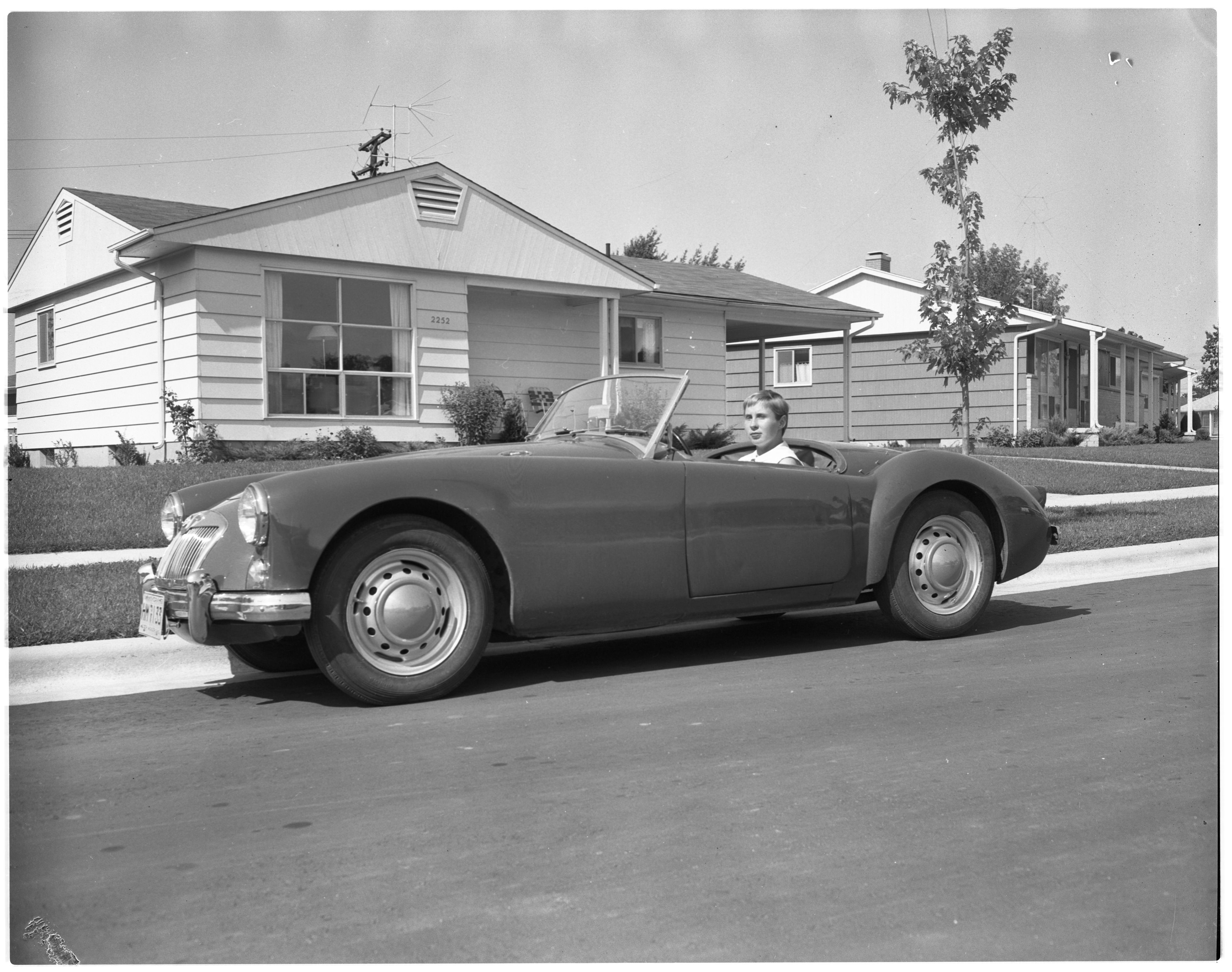 Margery Newton and her MGA, August 1958 image