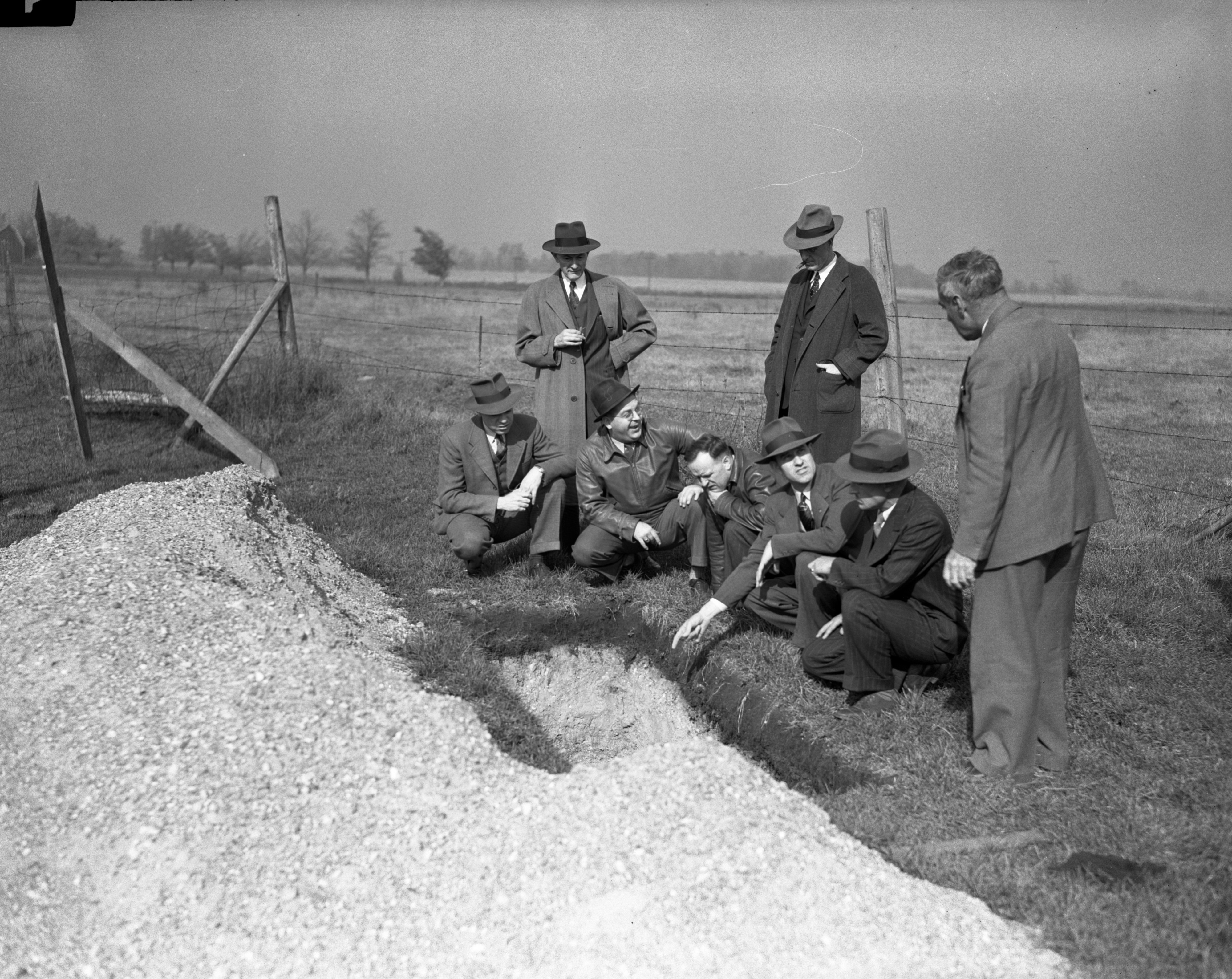 Civil Aviation Authority Officials inspect airport for new runways, October 1942 image
