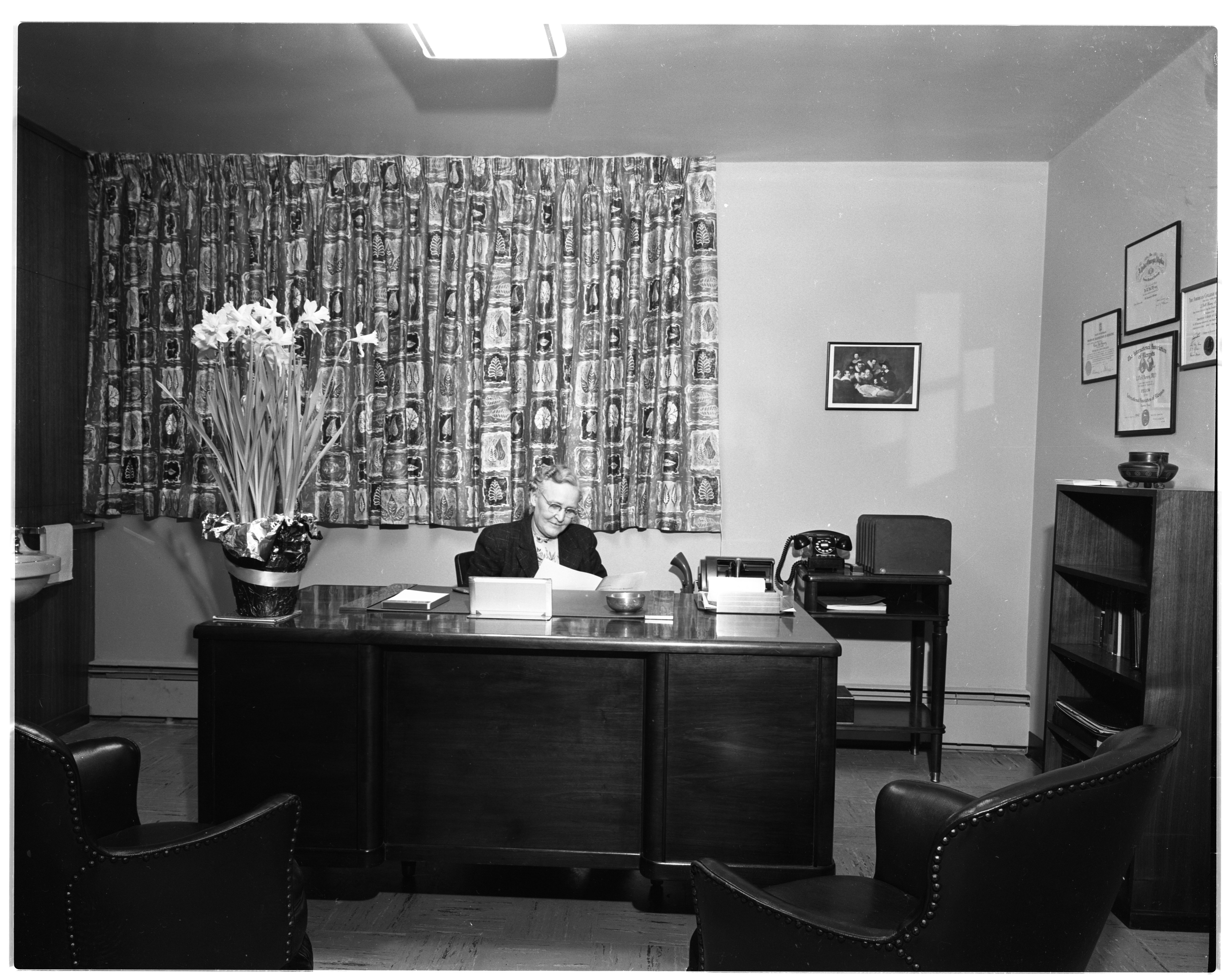 Dr. L. Dell Henry In Her Allergy Clinic Office, January 1955 image