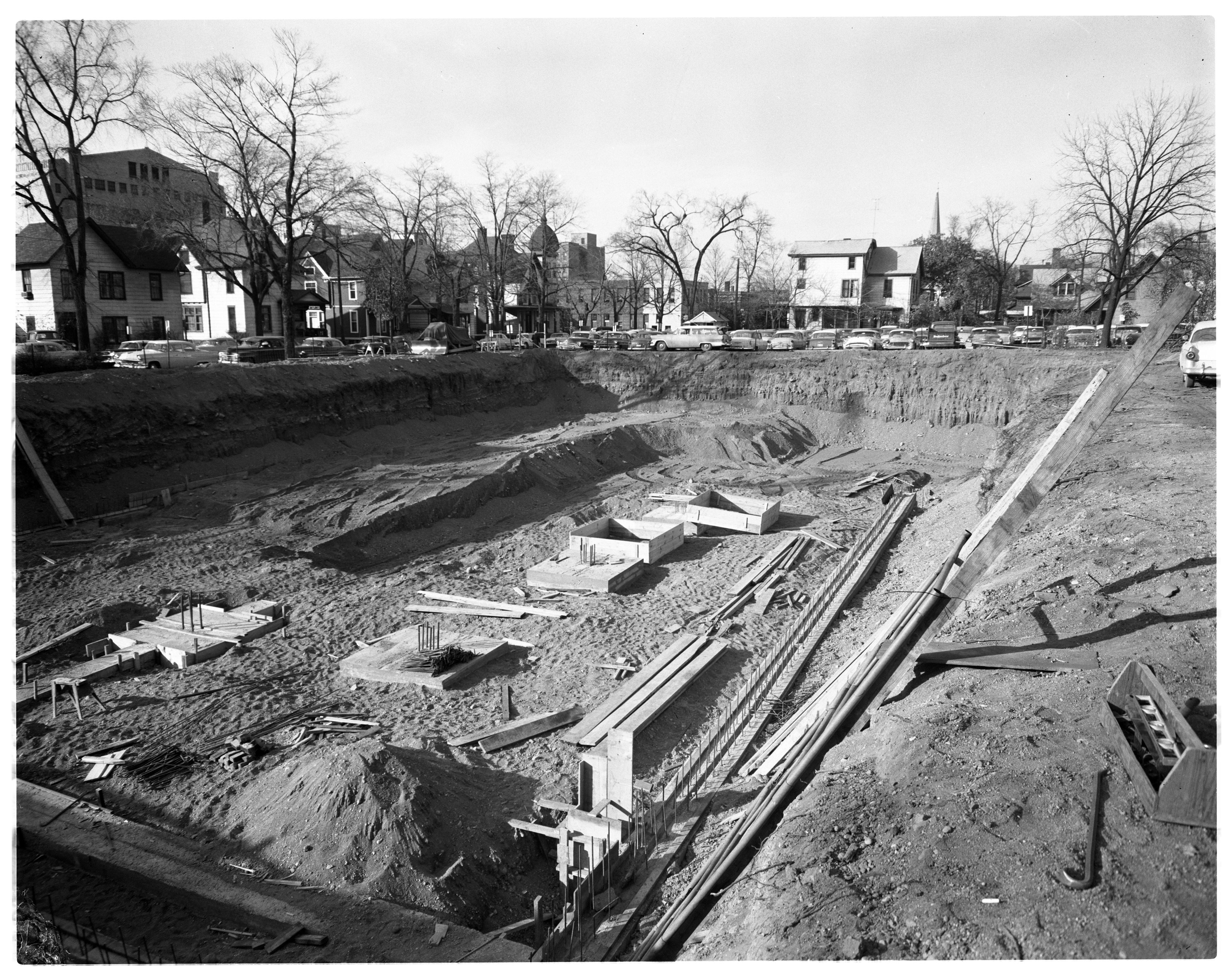 Construction Site of New Ann Arbor Public Library at S Fifth and E William, October 1956 image