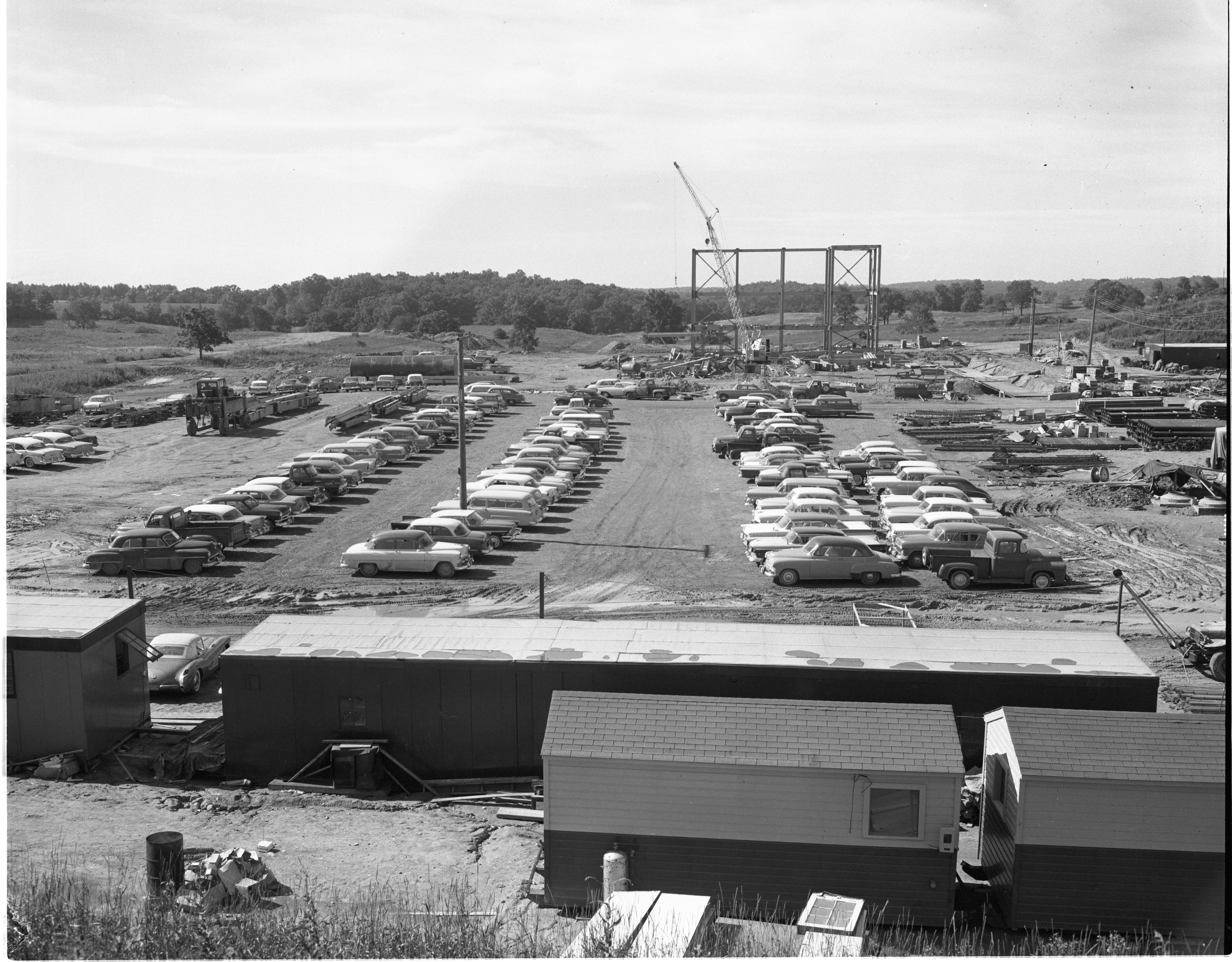 Parking Lot Filled With Cars Of Building & Construction Workers At The Ann Arbor Parke Davis Research Center Construction Site, August 1958 image