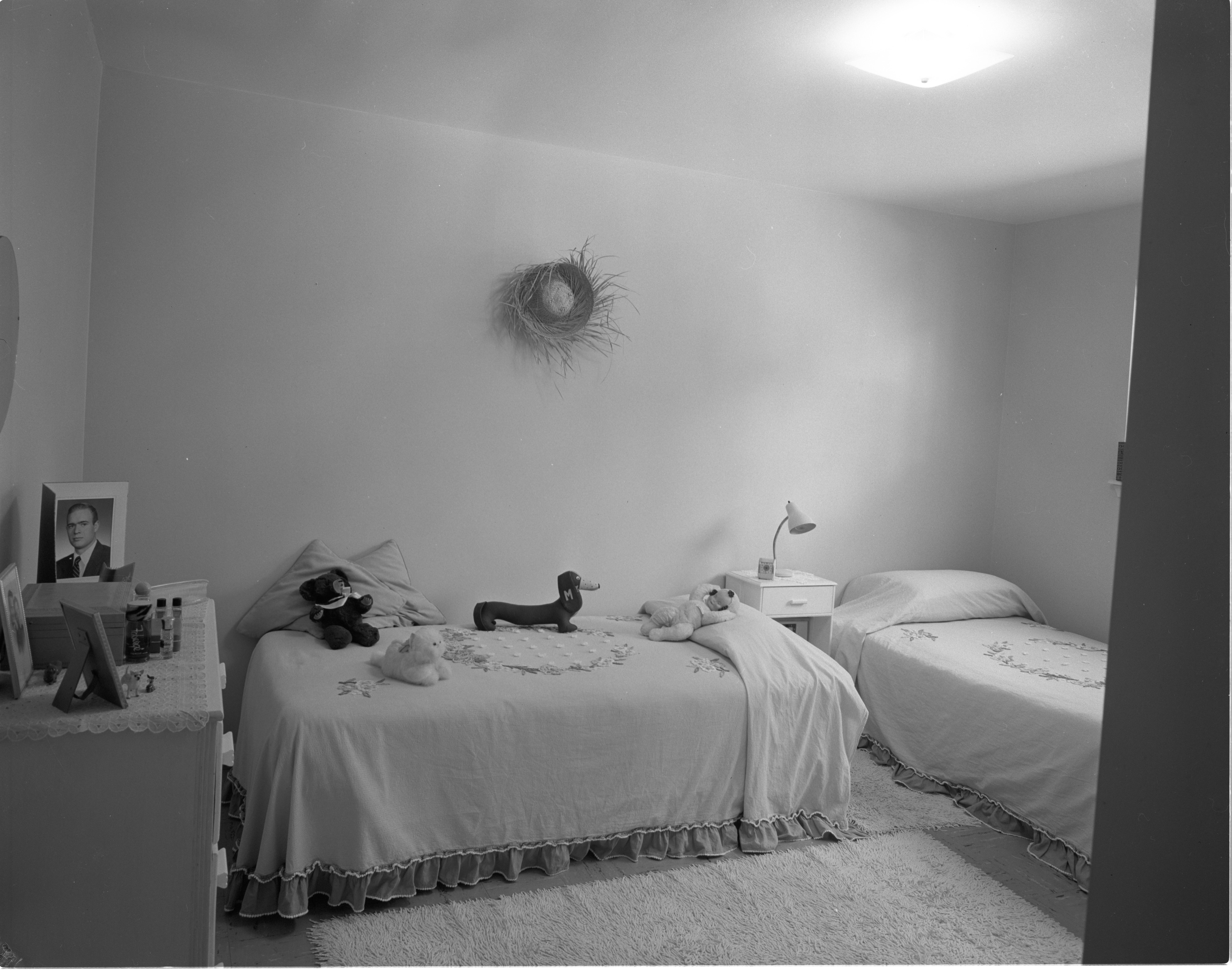 Newly Constructed Huron Arms Apartments - Bedroom, September 1956 image