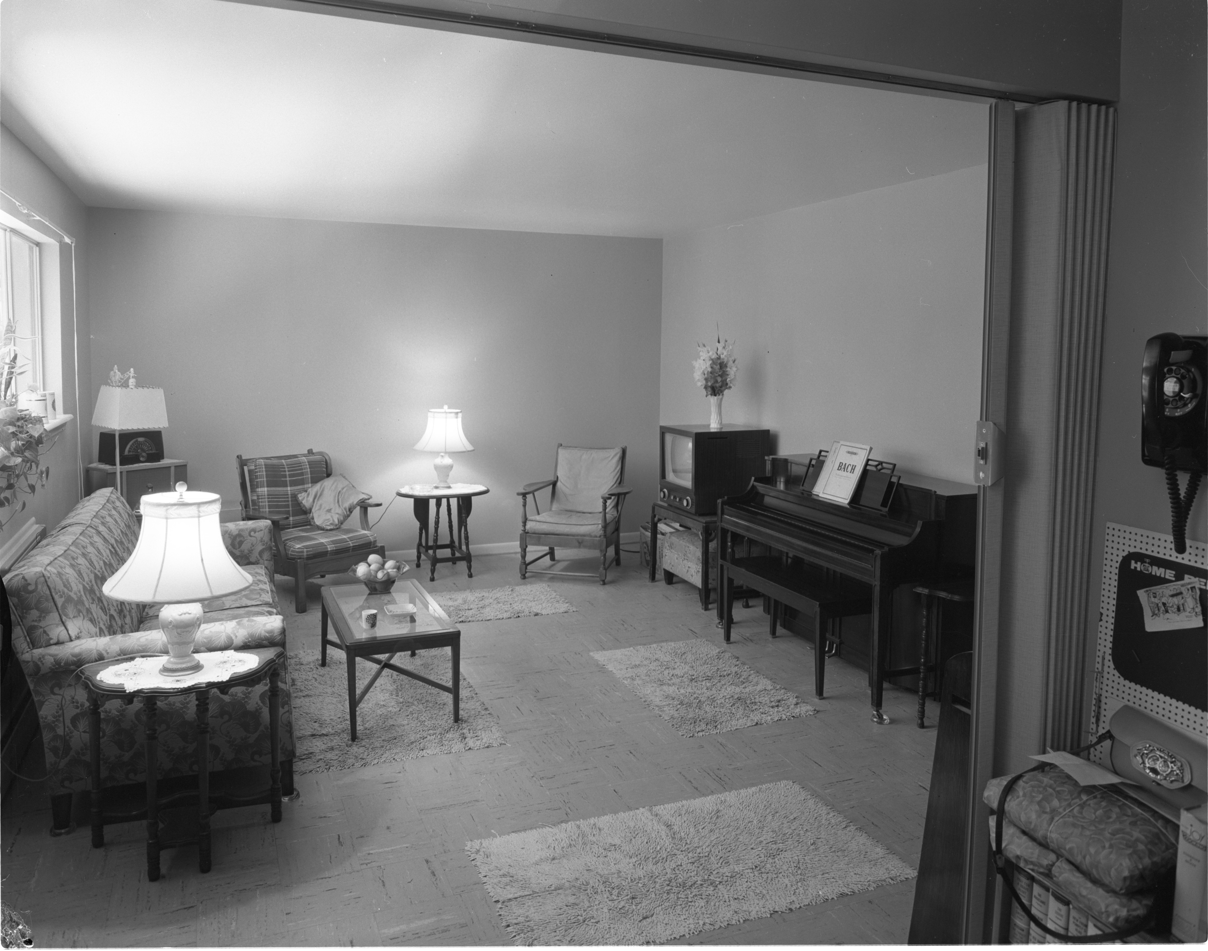 Newly Constructed Huron Arms Apartments - Living Room, September 1956 image