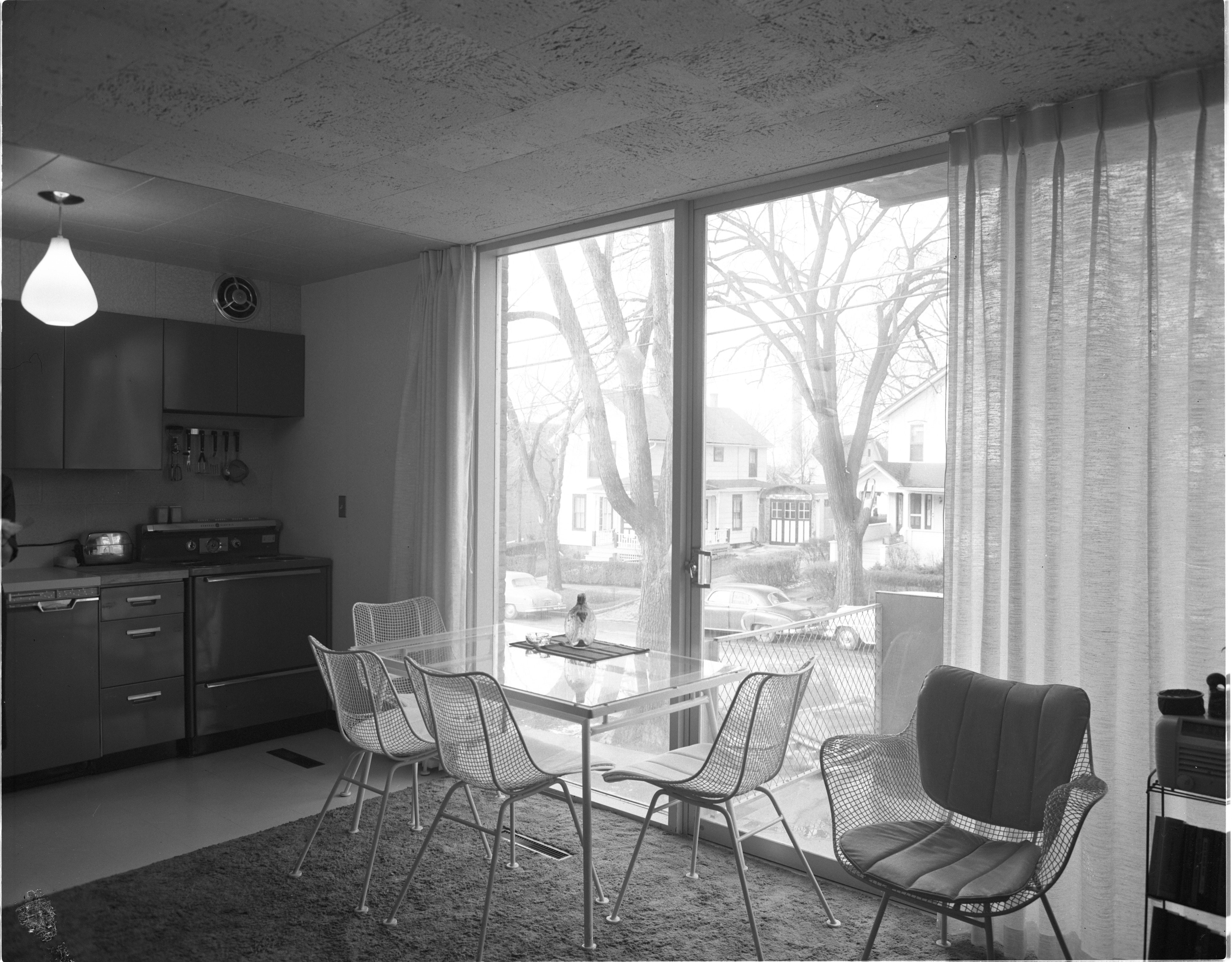 Interior Of Newly Constructed Geddes Apartments - View Out Balcony Window, November 1957 image