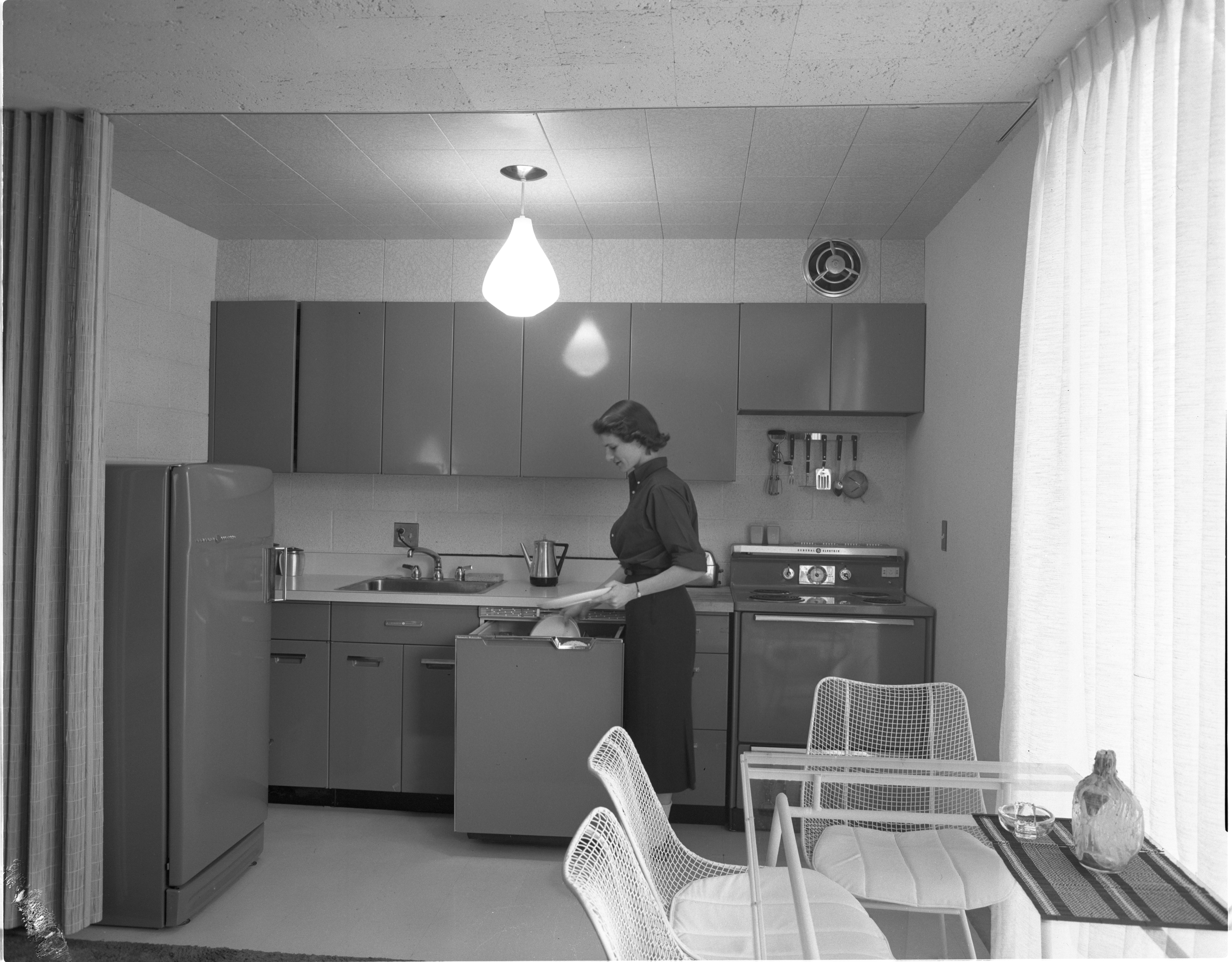 Interior Of Newly Constructed Geddes Apartments - Kitchen, November 1957 image