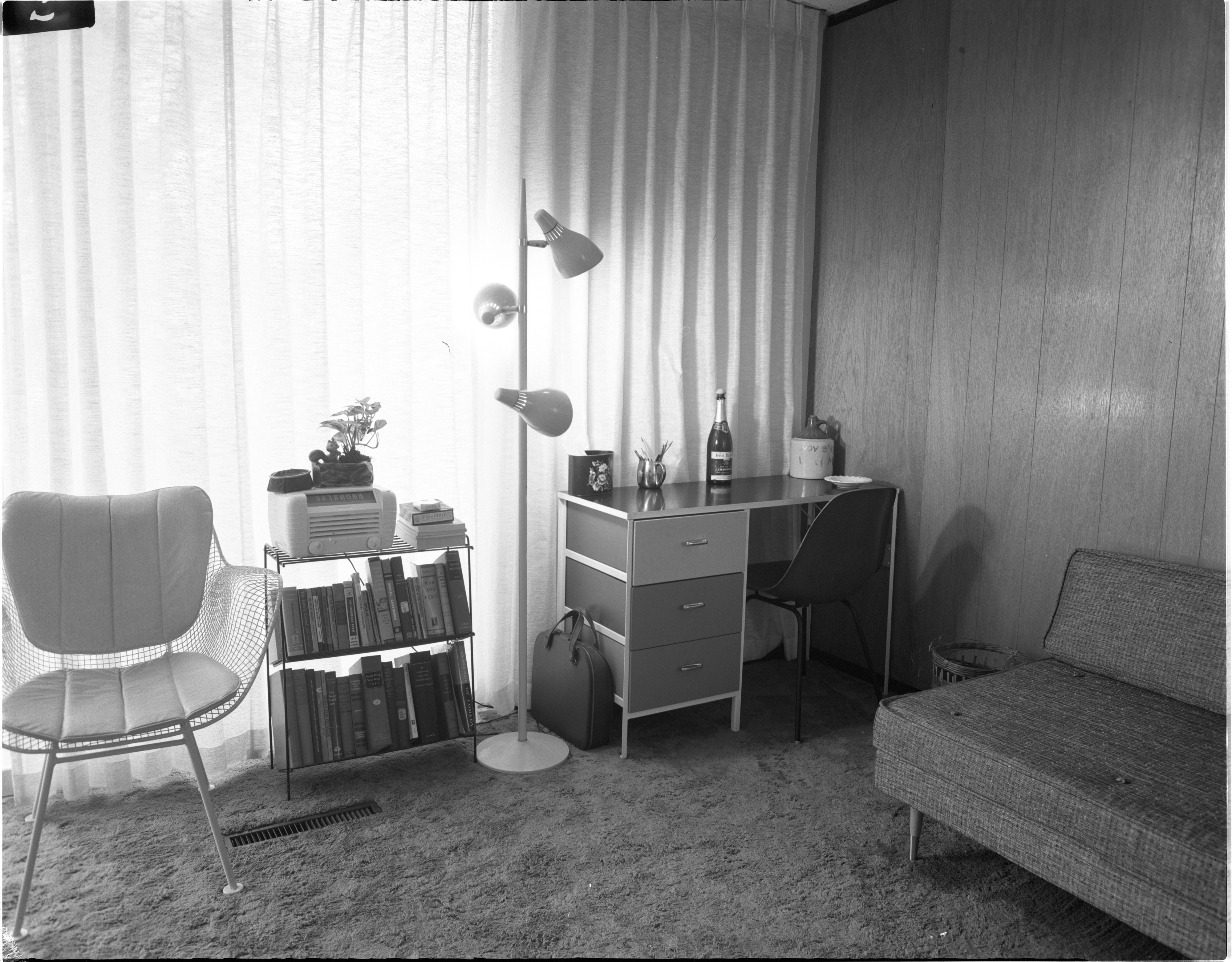 Interior Of Newly Constructed Geddes Apartments - Living Room, November 1957 image