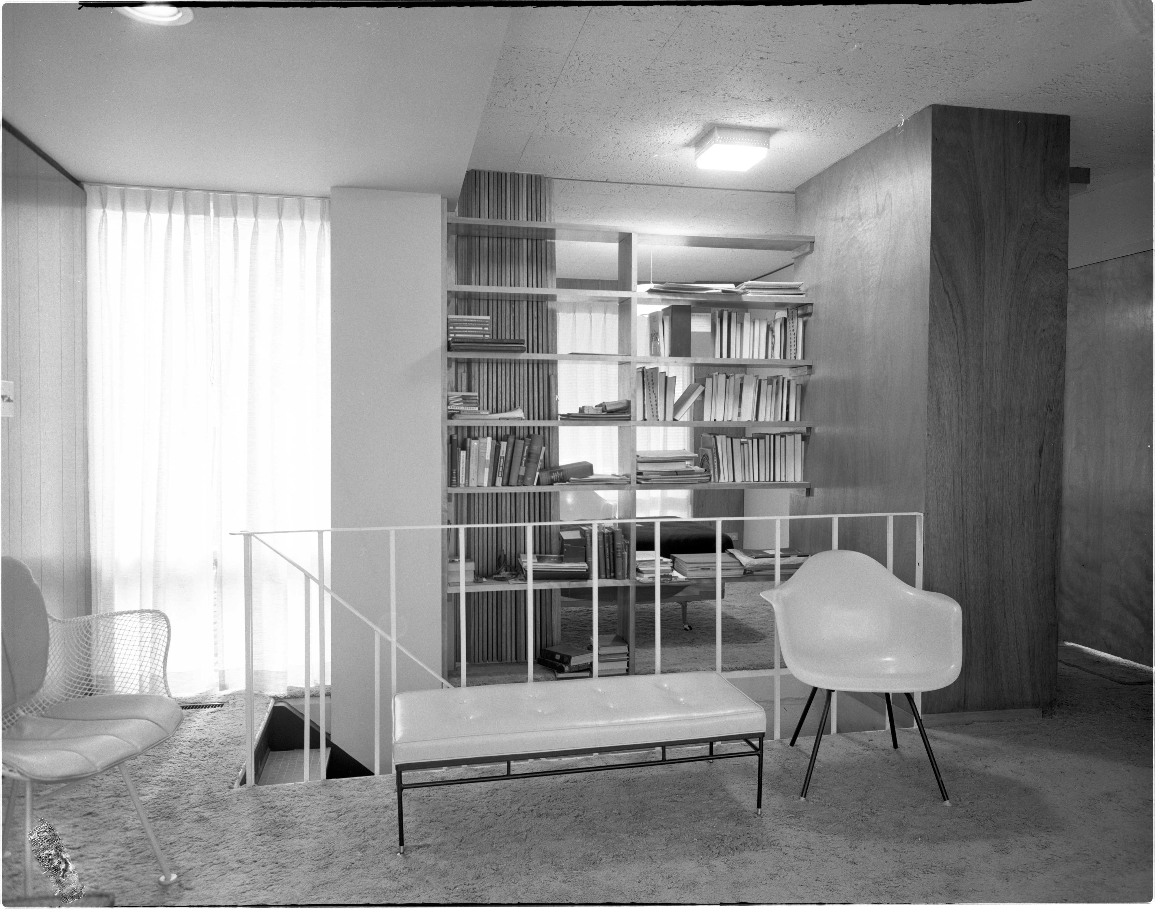 Interior Of Newly Constructed Geddes Apartments - Staircase, November 1957 image