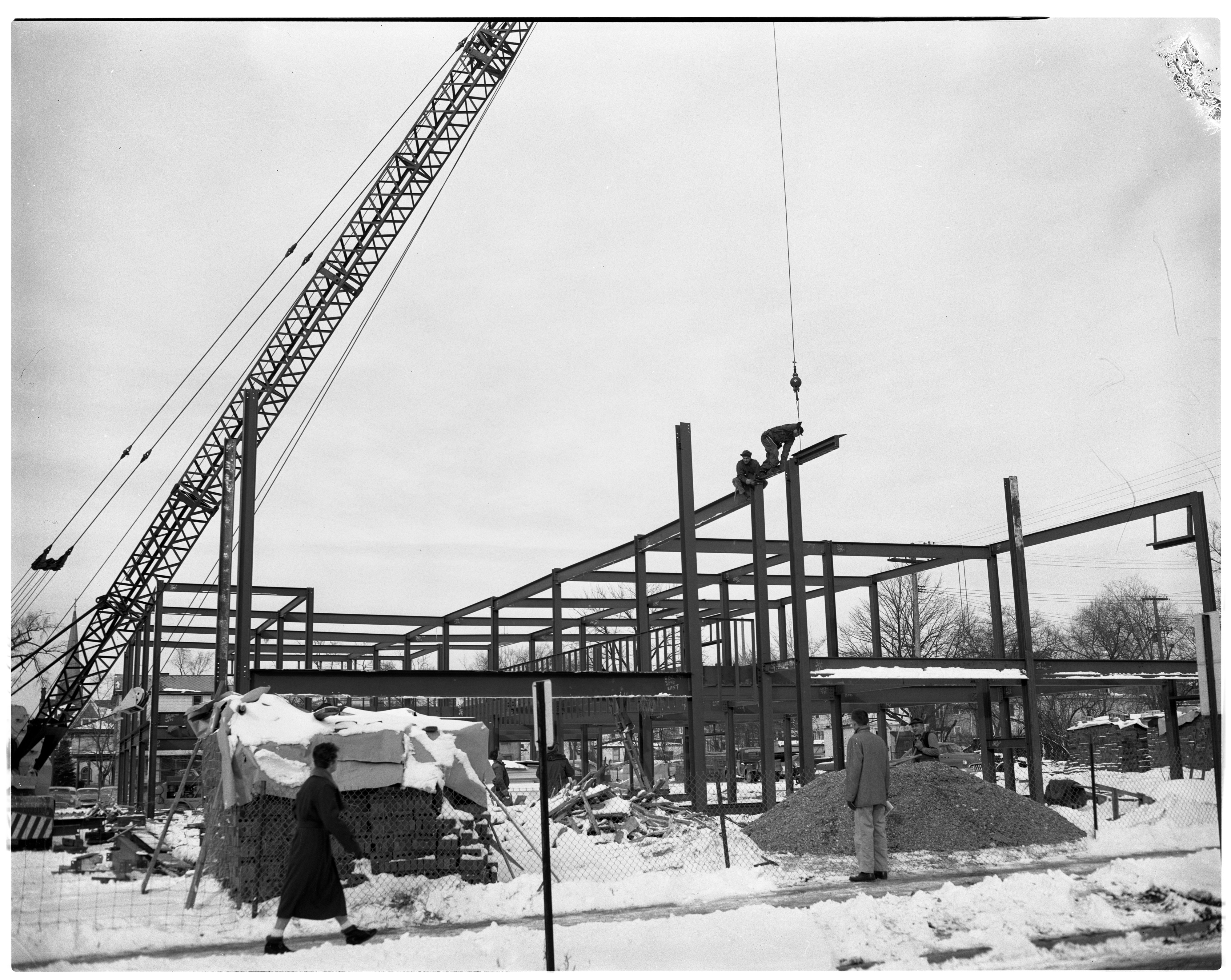 Library Framing Going Up, E. William St. and Fifth Ave., January 1957 image