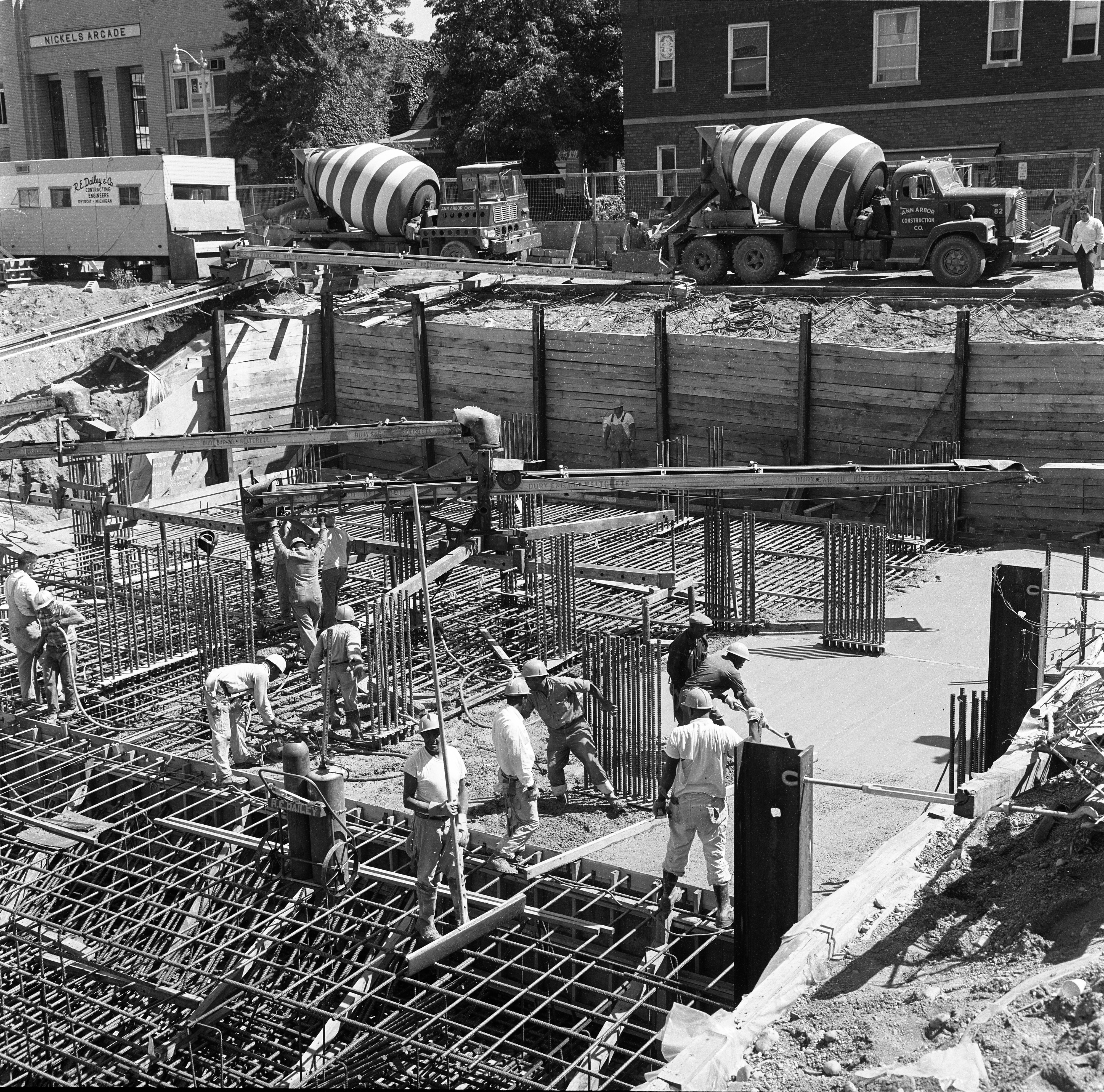 Workers At Tower Plaza Construction Site, August 1966 image
