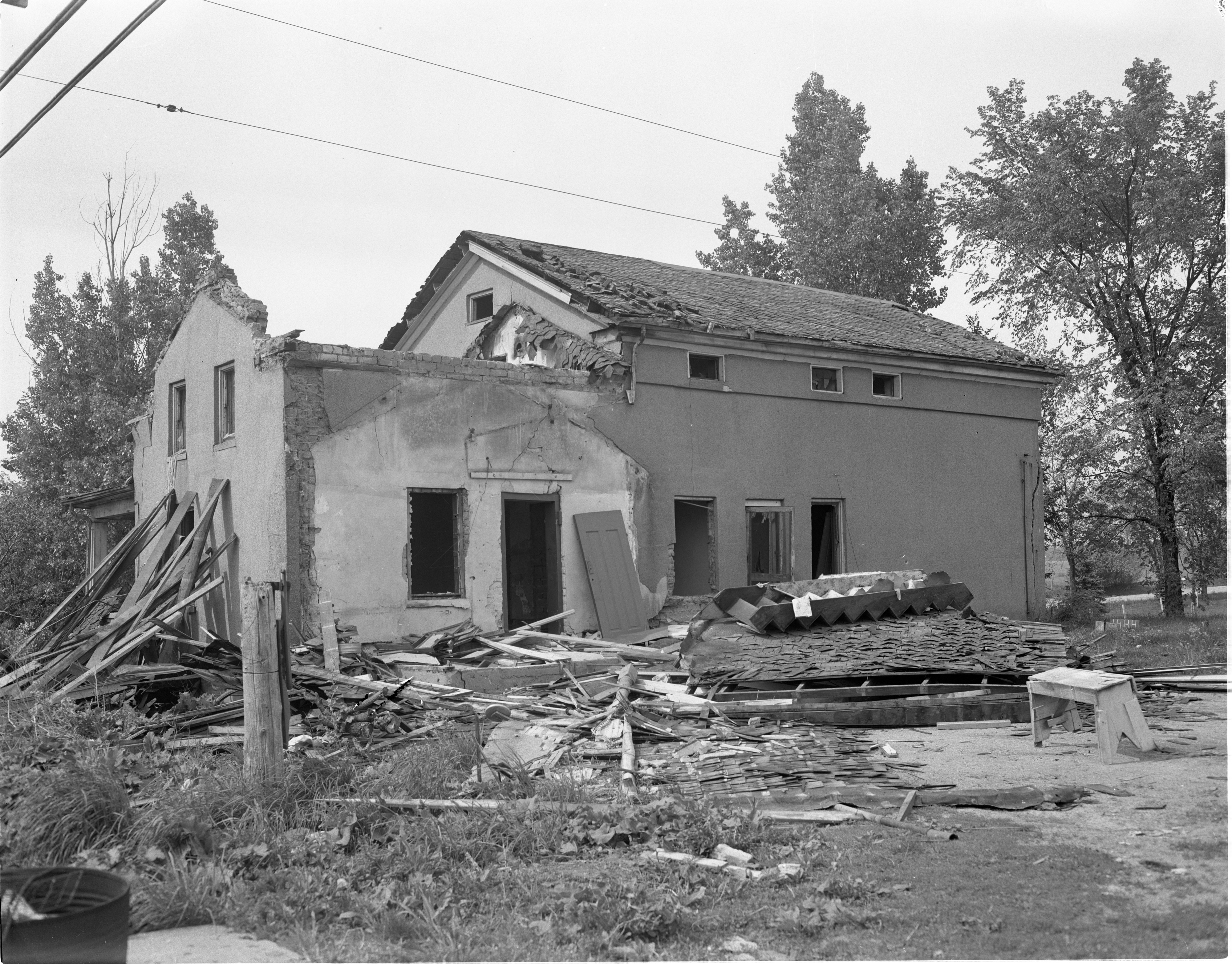 Greek-Revival Adobe Home At Scio Church Rd & Greenview Dr Is Torn Down, May 1955 image