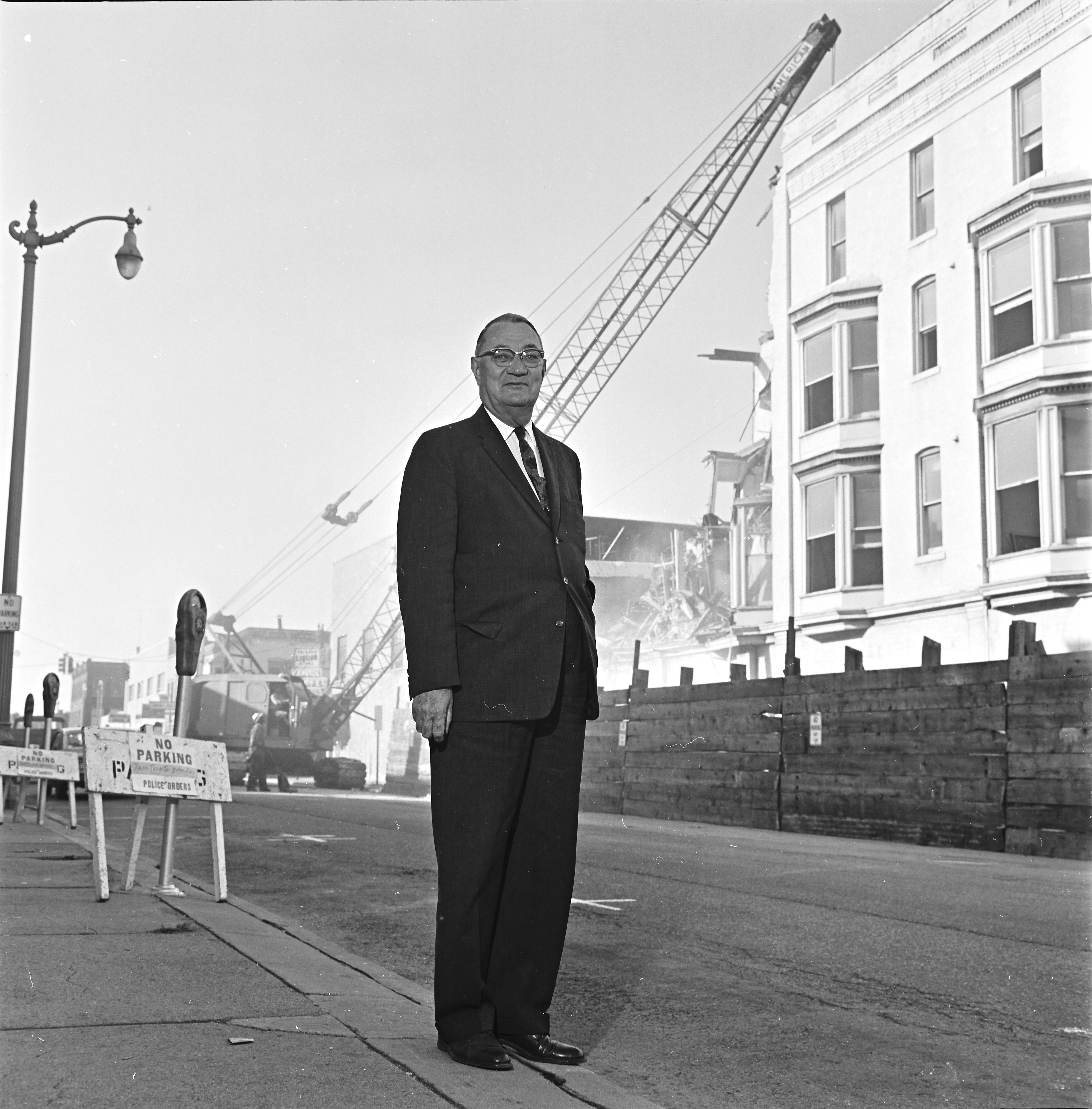Mayor Cecil O. Creal at the demolition of Allenel Hotel, October 1964 image