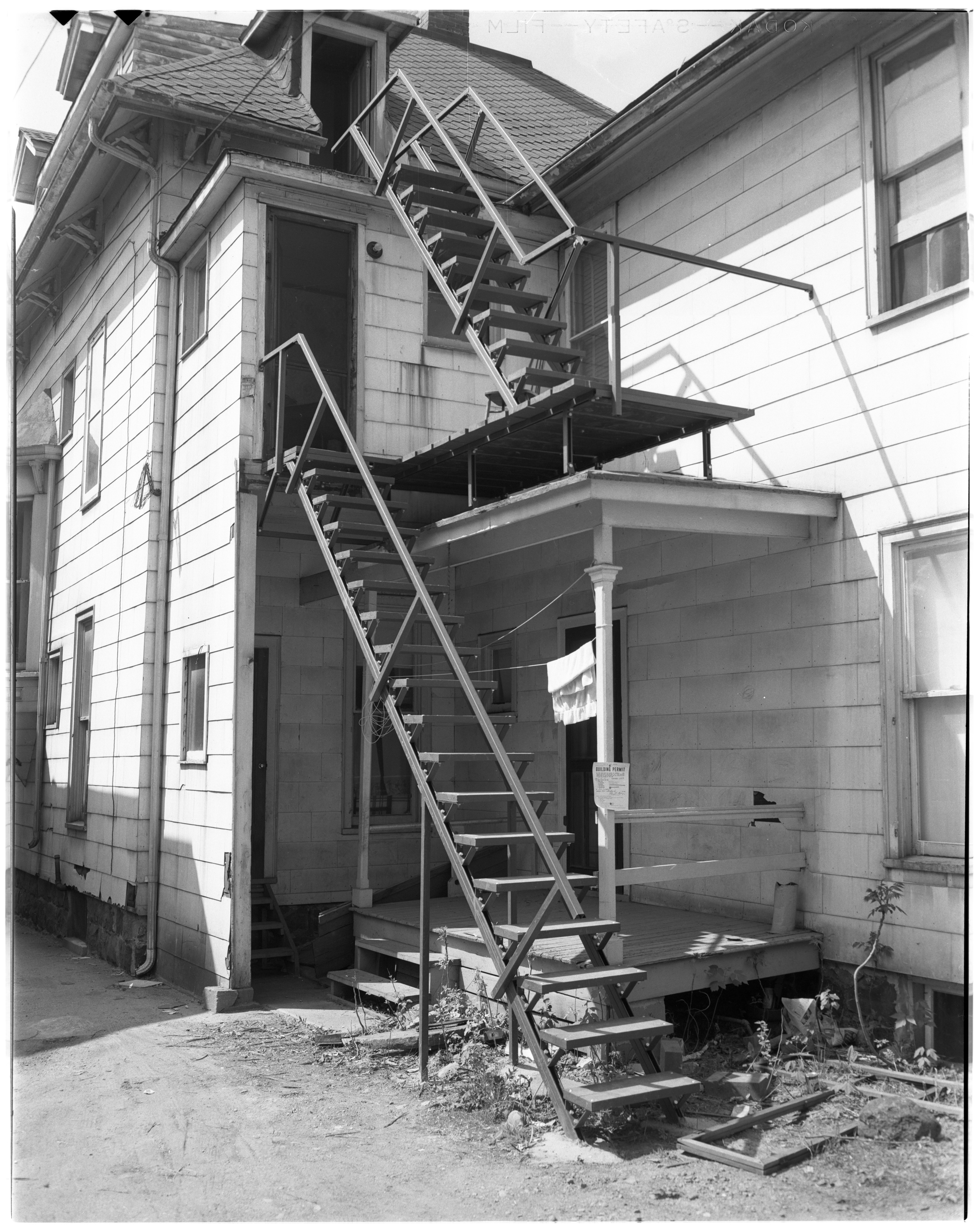 New Fire Escape at 331 Packard St., May 1955 image