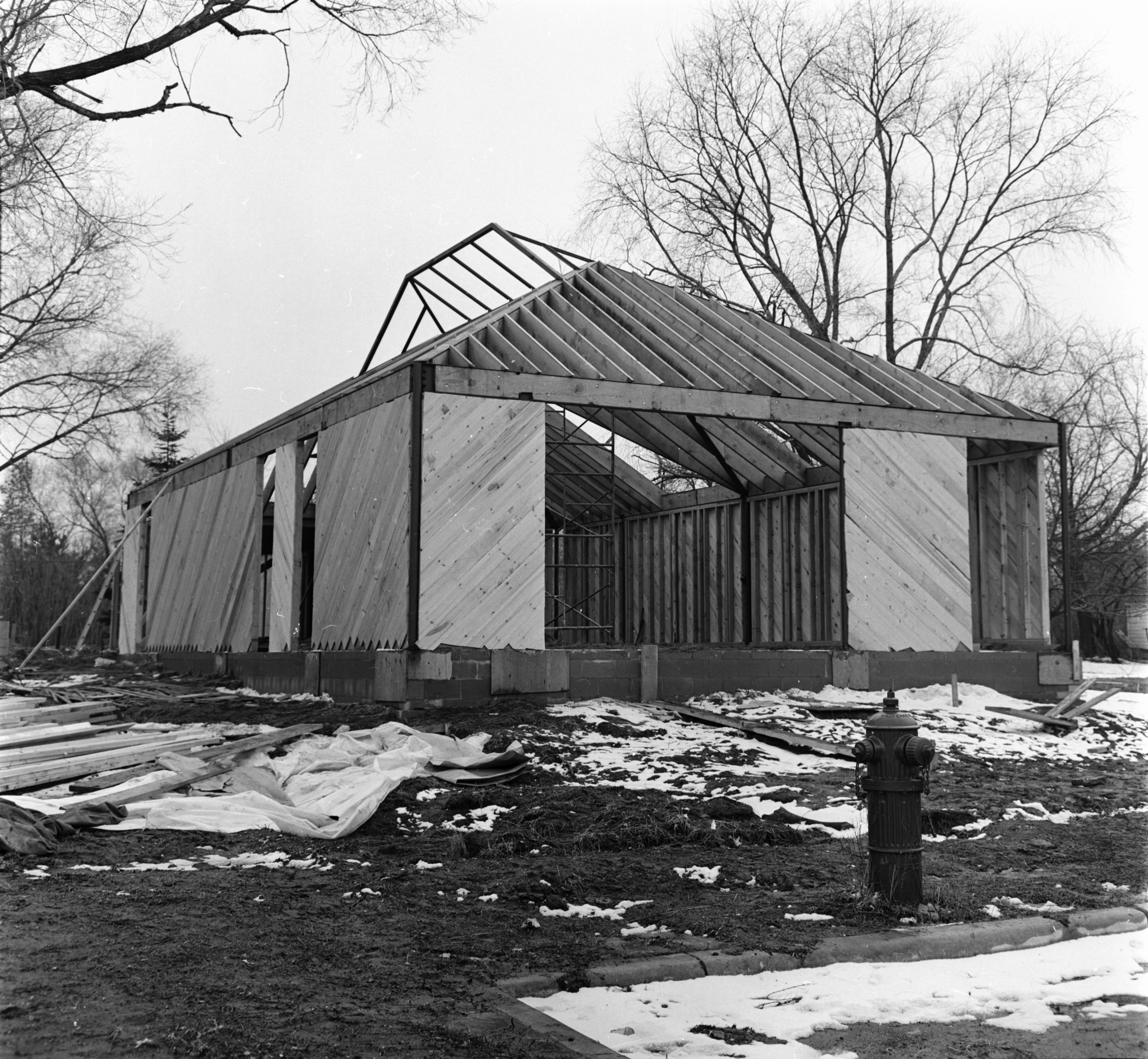 Nellie Seymour Loving Branch Library Under Construction at 3042 Creek Dr, March 1965 image