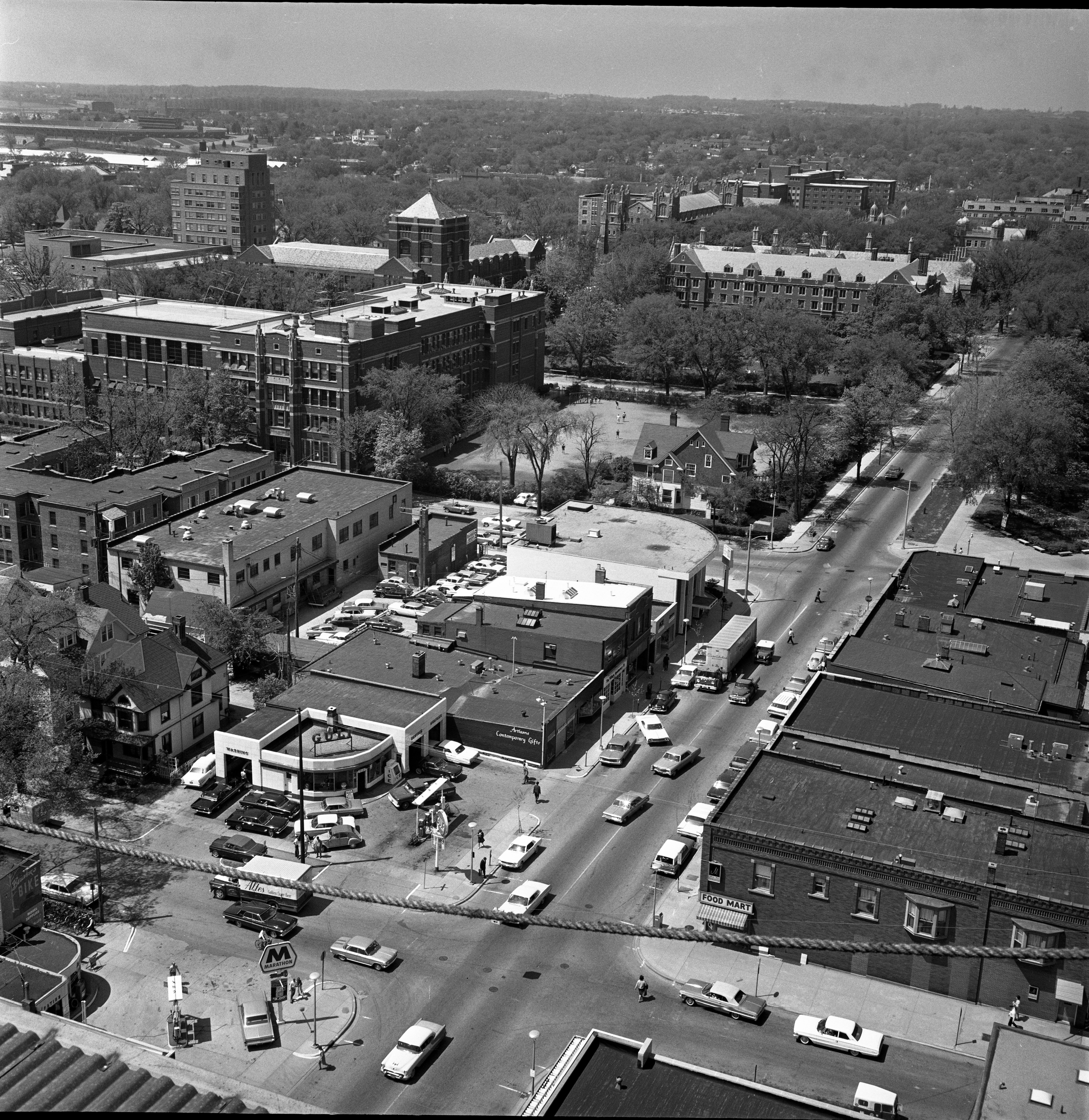 Aerial View From 13th Floor Of University Towers Construction Looking South-West Toward Along S. University Ave., May 27, 1965 image