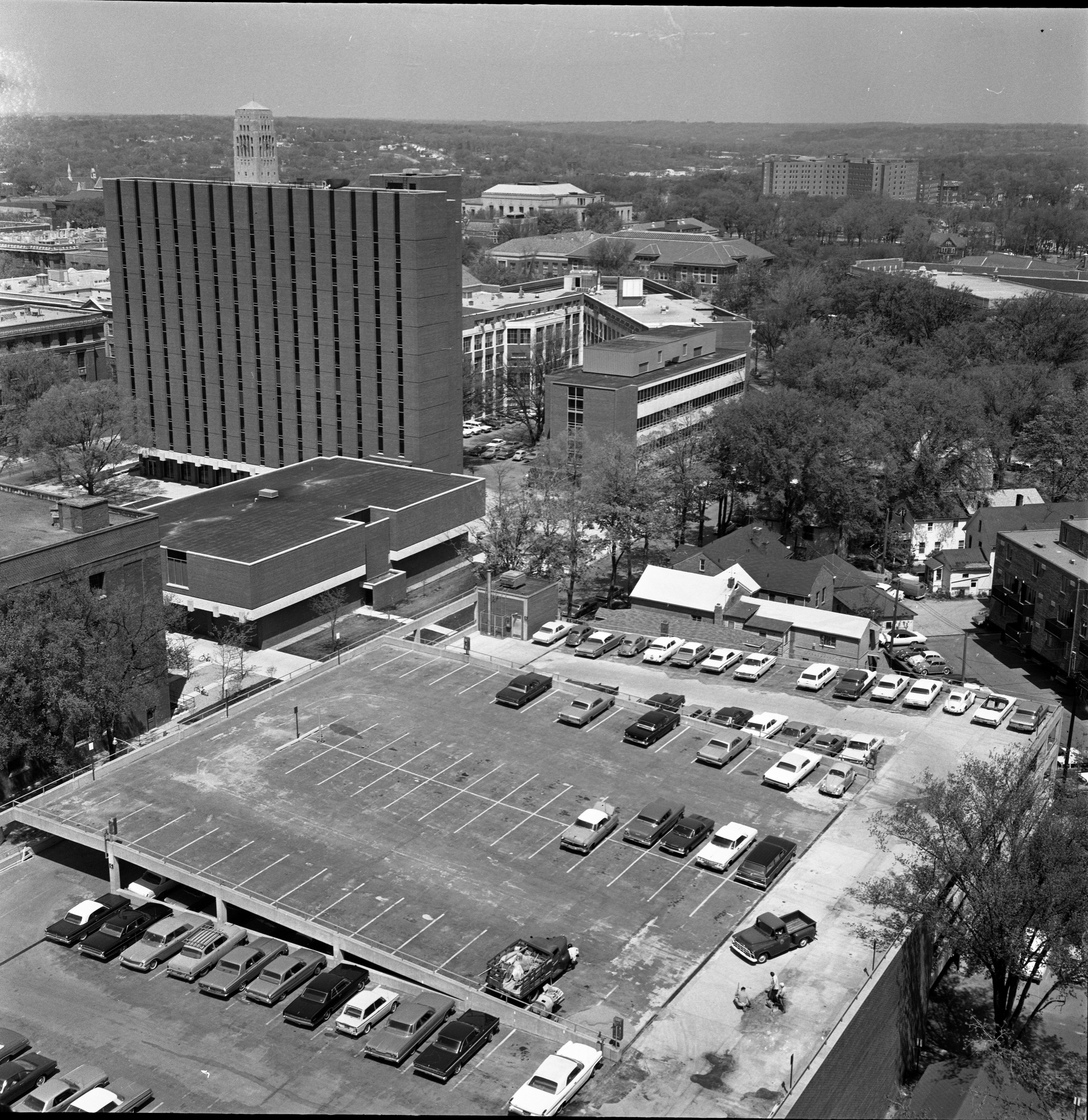 Aerial View From 13th Floor Of University Towers Construction Looking North-West Toward Rackham & St. Joseph Mercy Hospital, May 27, 1965 image