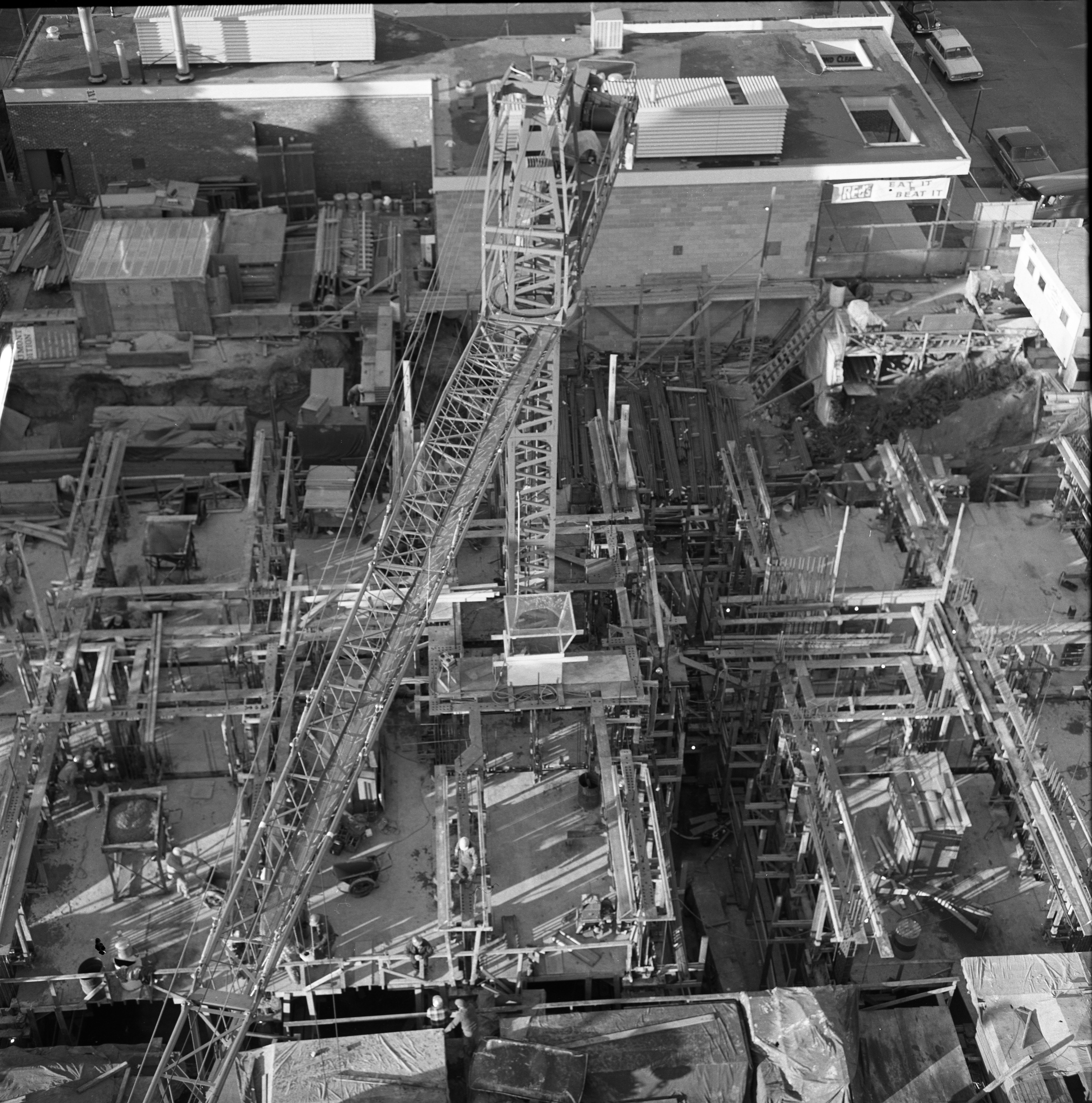 Aerial Shot From Top Of Maynard House Looking Down On Tower Plaza Construction, October 22, 1966 image