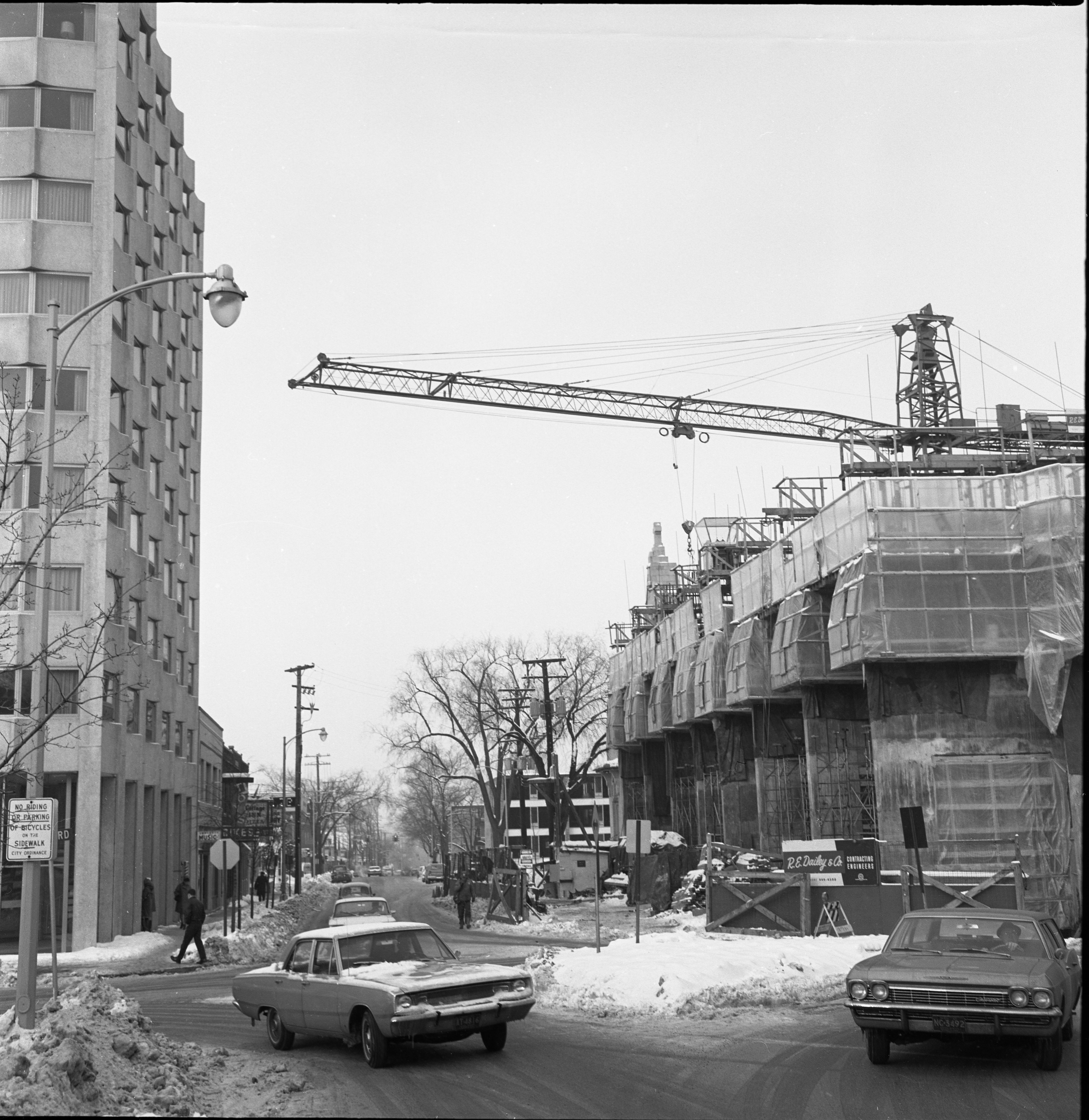 Construction Of Tower Plaza Looking West On William, February 3, 1967 image