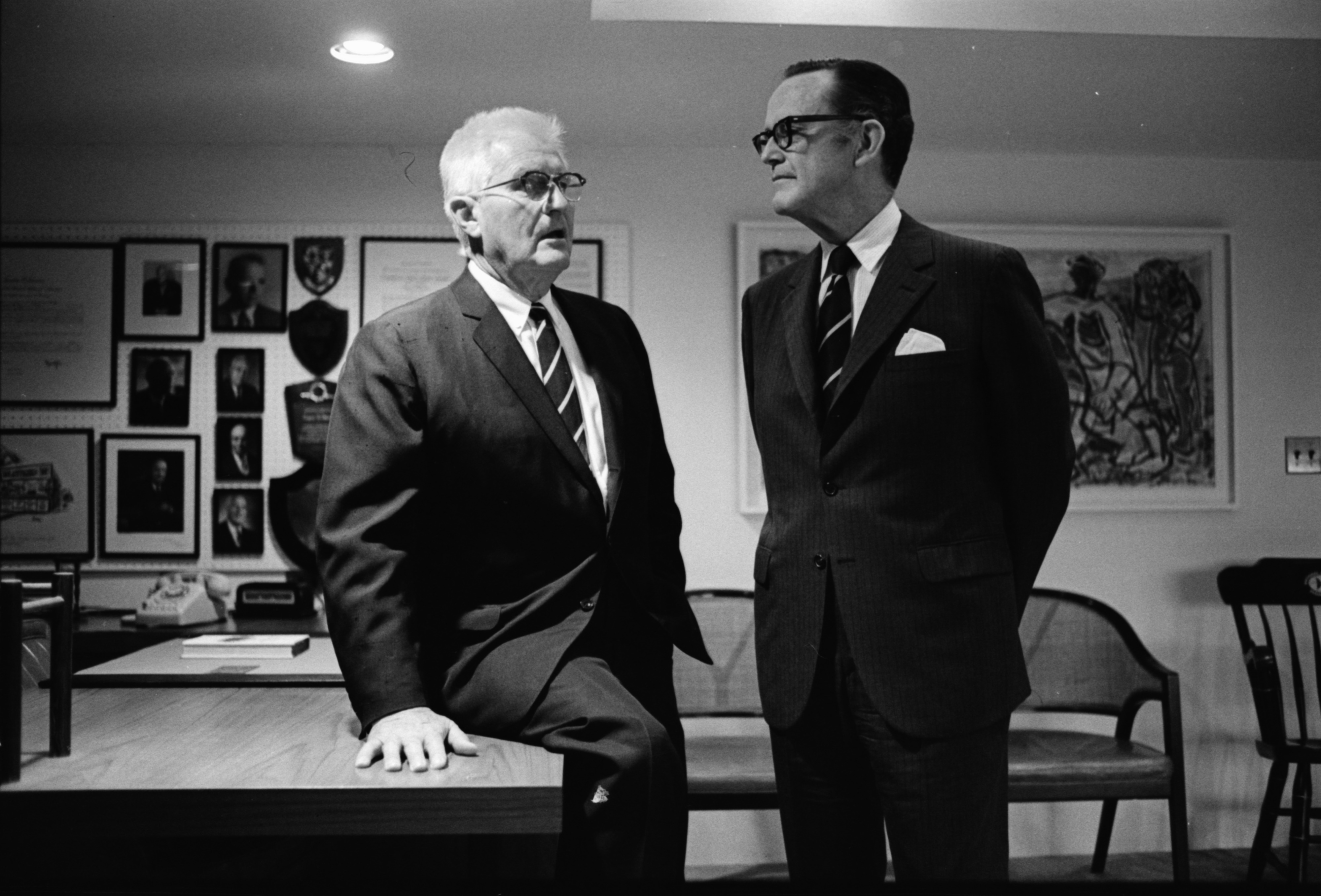 Eugene Power and Phil Hart Meet as Power Retires from Xerox, June 1970 image