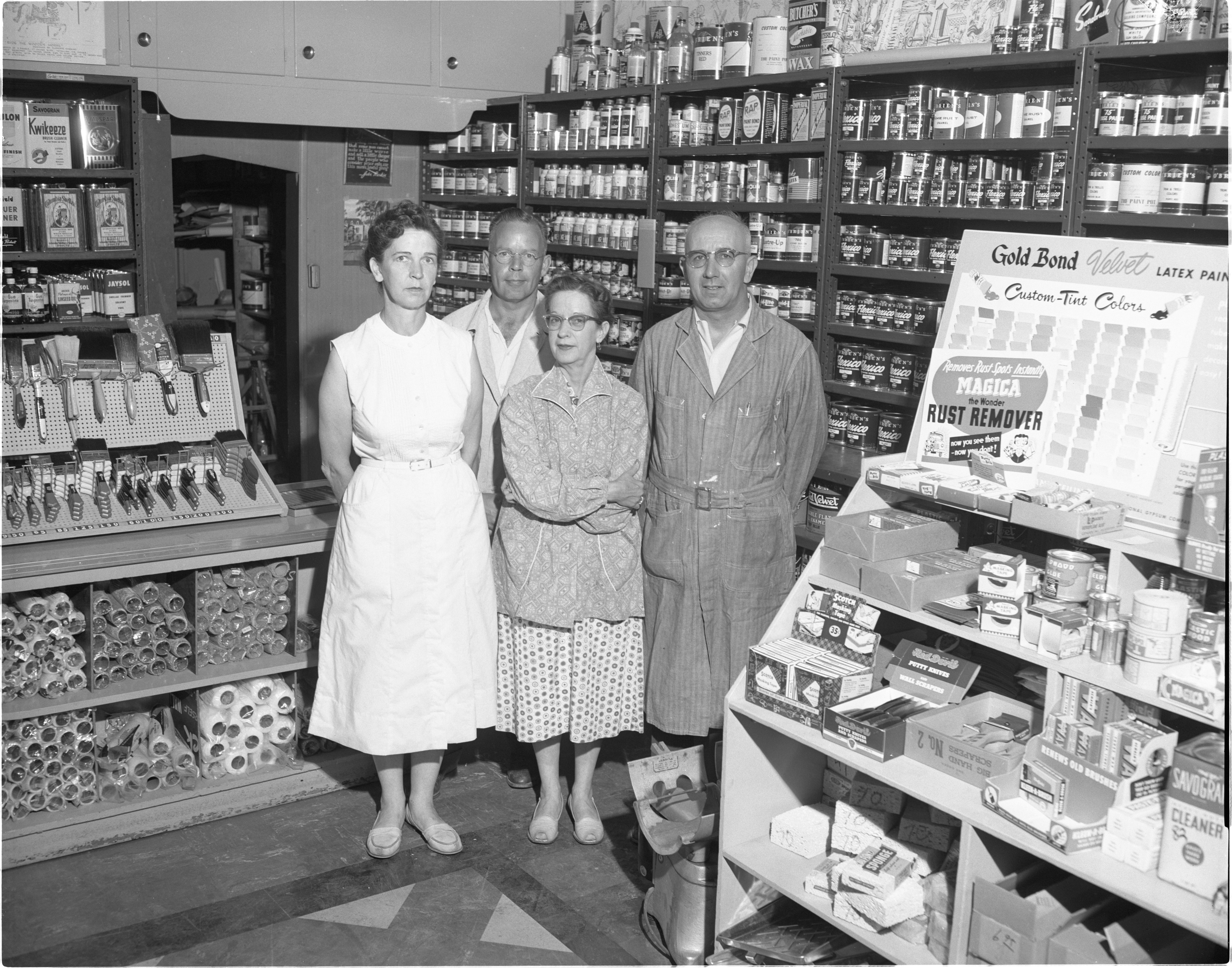 The Paint Pot - Owner E. C. Rowe & Employees, July 1957 image