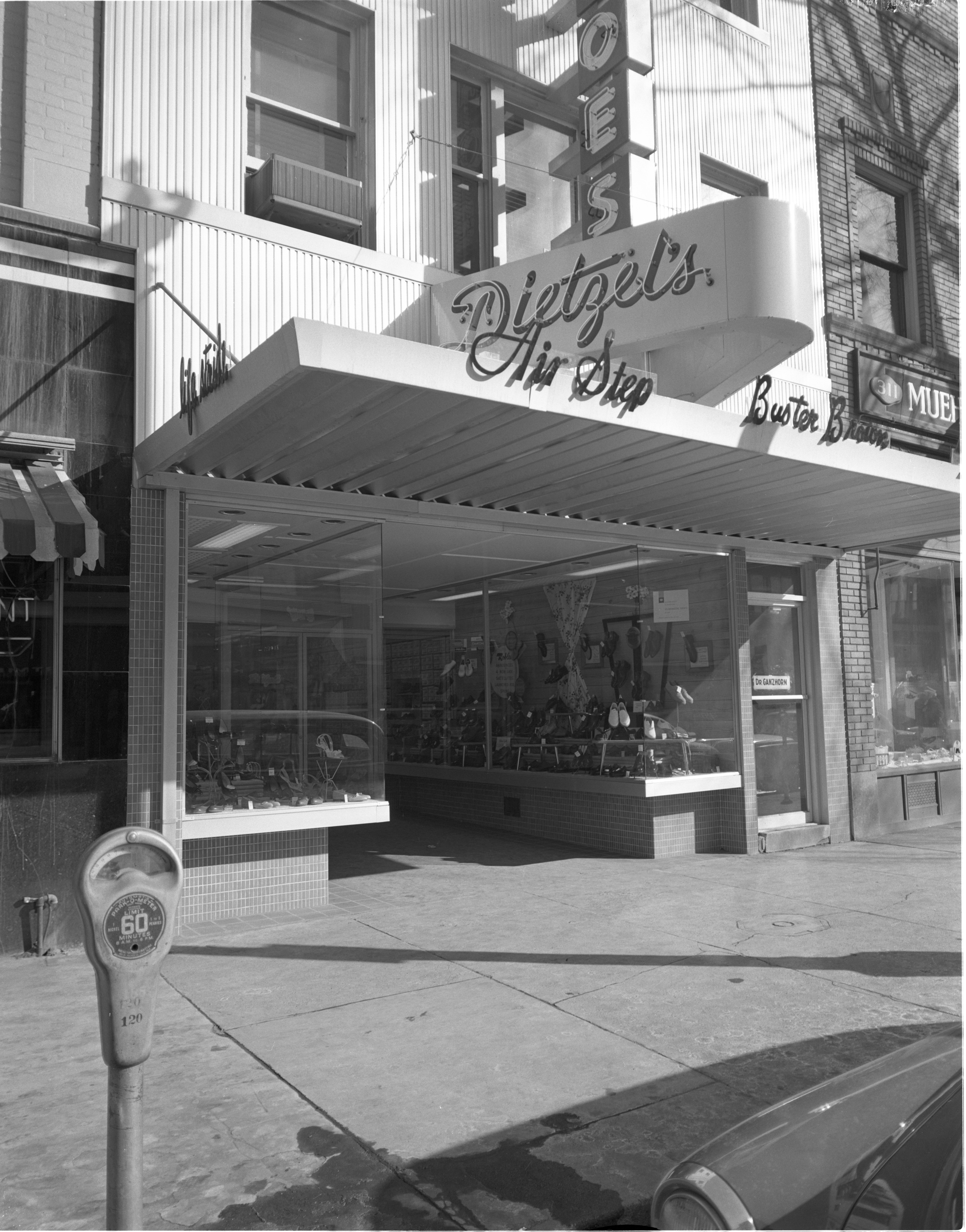 Exterior Of Dietzel's Shoe Store, March 1958 image