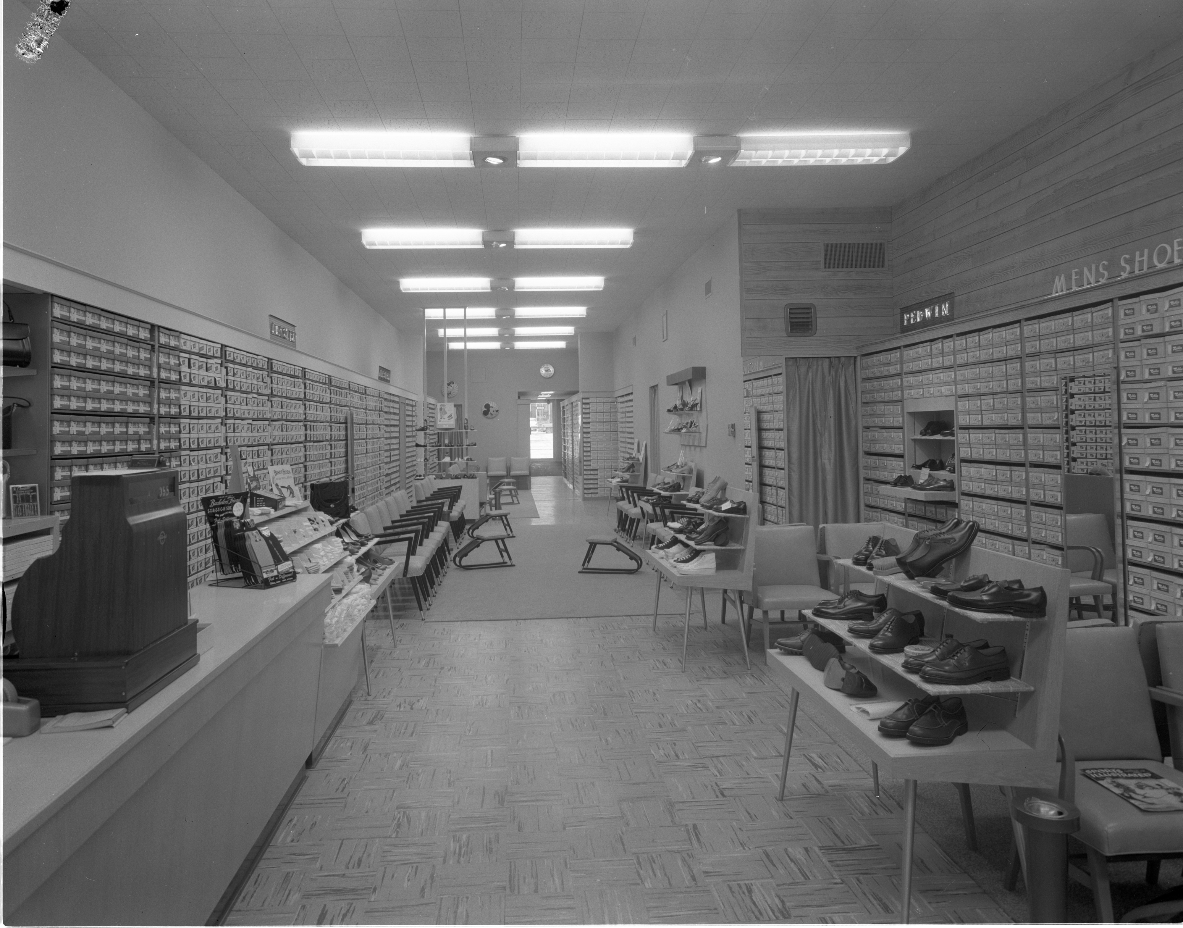 Interior Of Dietzel's Shoe Store, February 1958 image