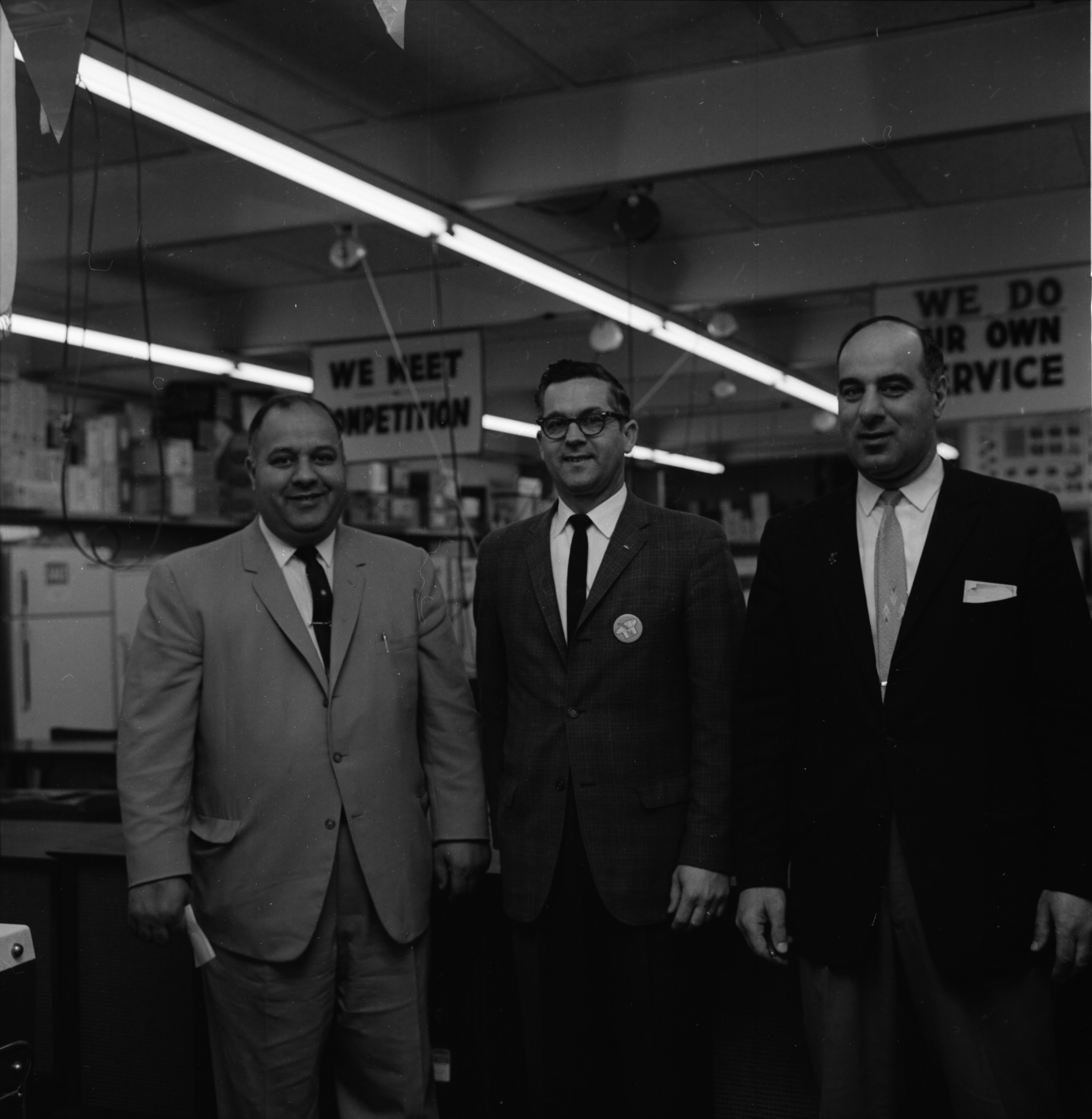Co-owners George Simon, Joe Simon, and Willard Murrell of Home Appliance Mart of 2019 W. Stadium Blvd., May 1963 image