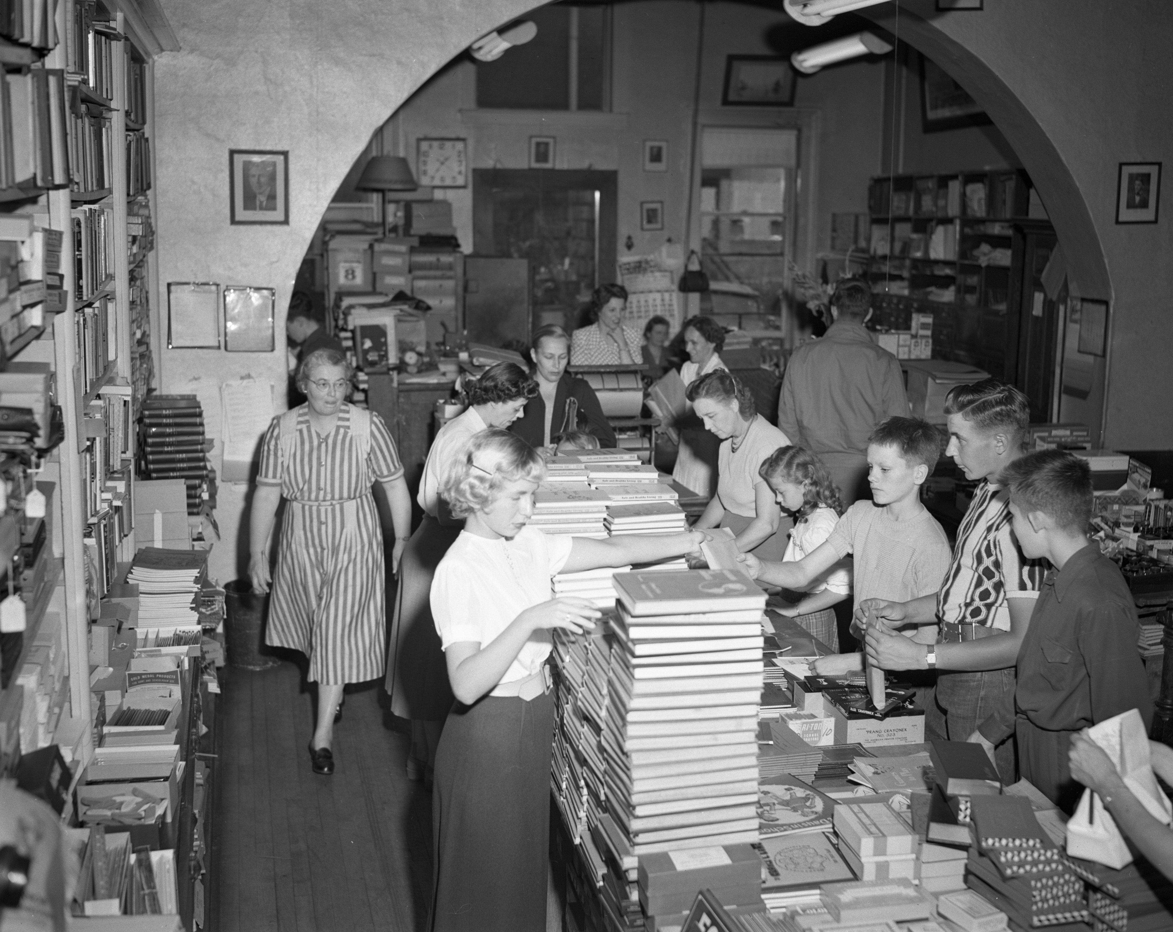 Children Buying Books at Wahr's Bookstore, September 1950 image