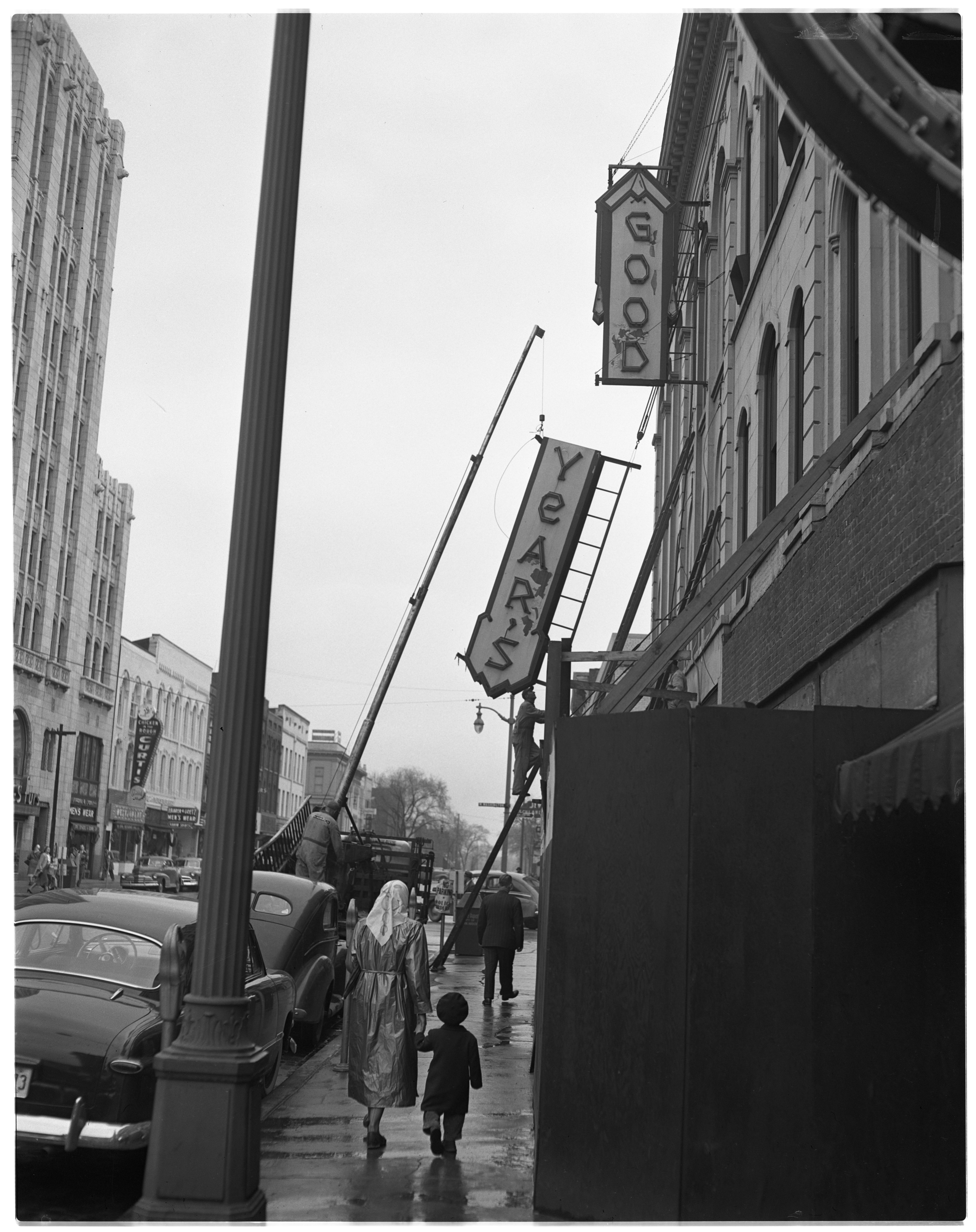 Old Goodyear's Sign Coming Down, May 1950 image