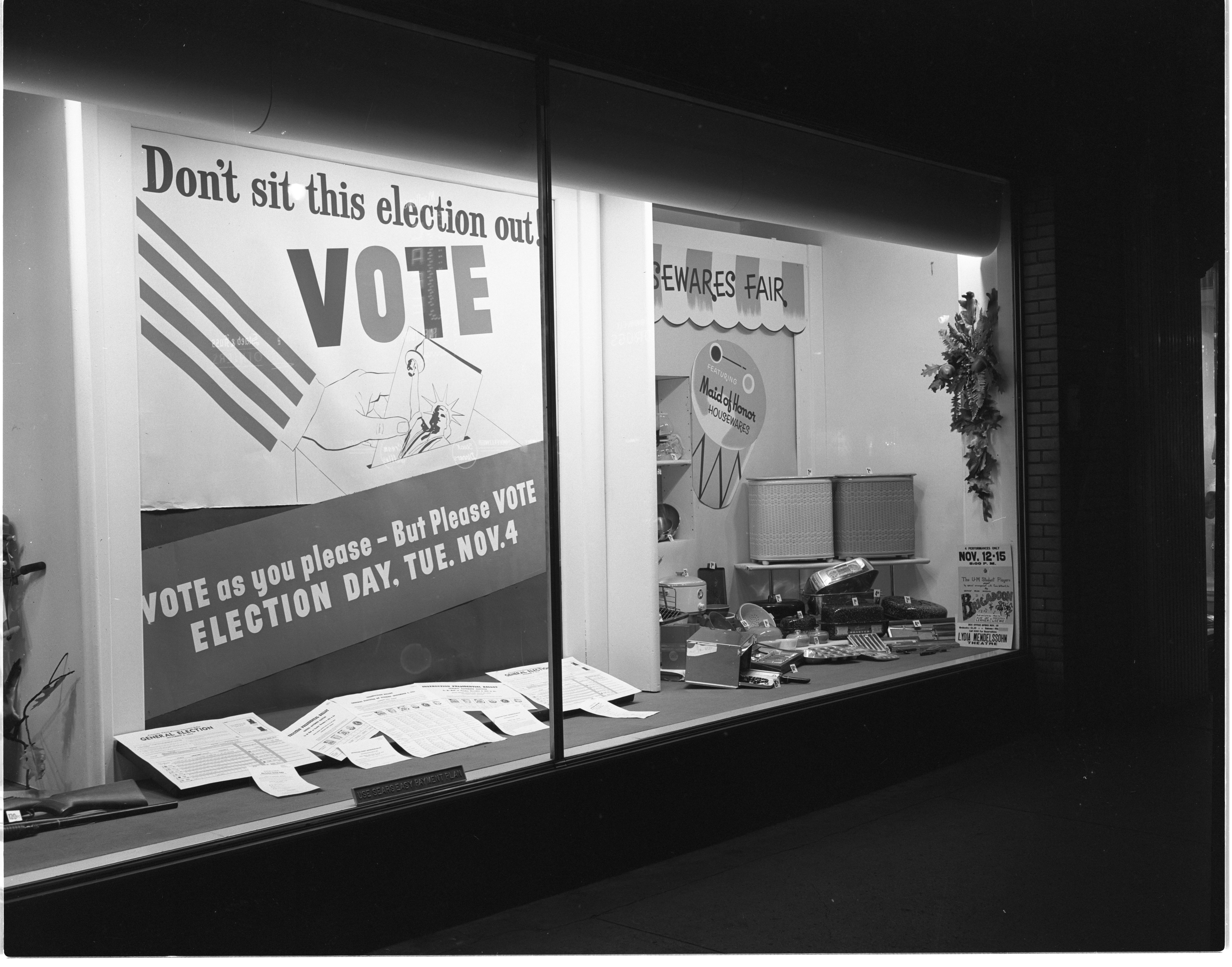 Election Day Display In Sears Roebuck & Co. Window, October 1952 image