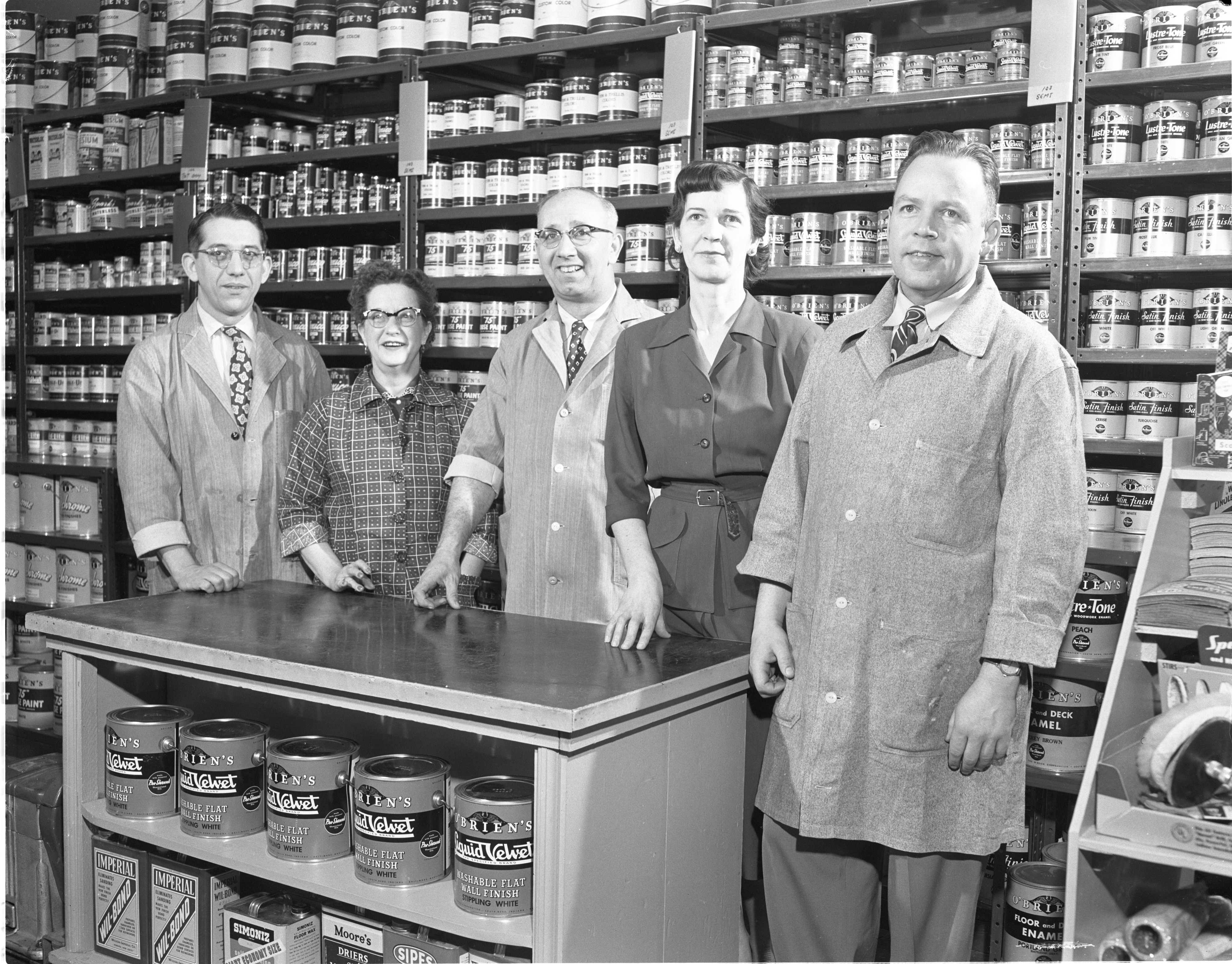 The Paint Pot - Owner E. C. Rowe & Employees, April 1953 image