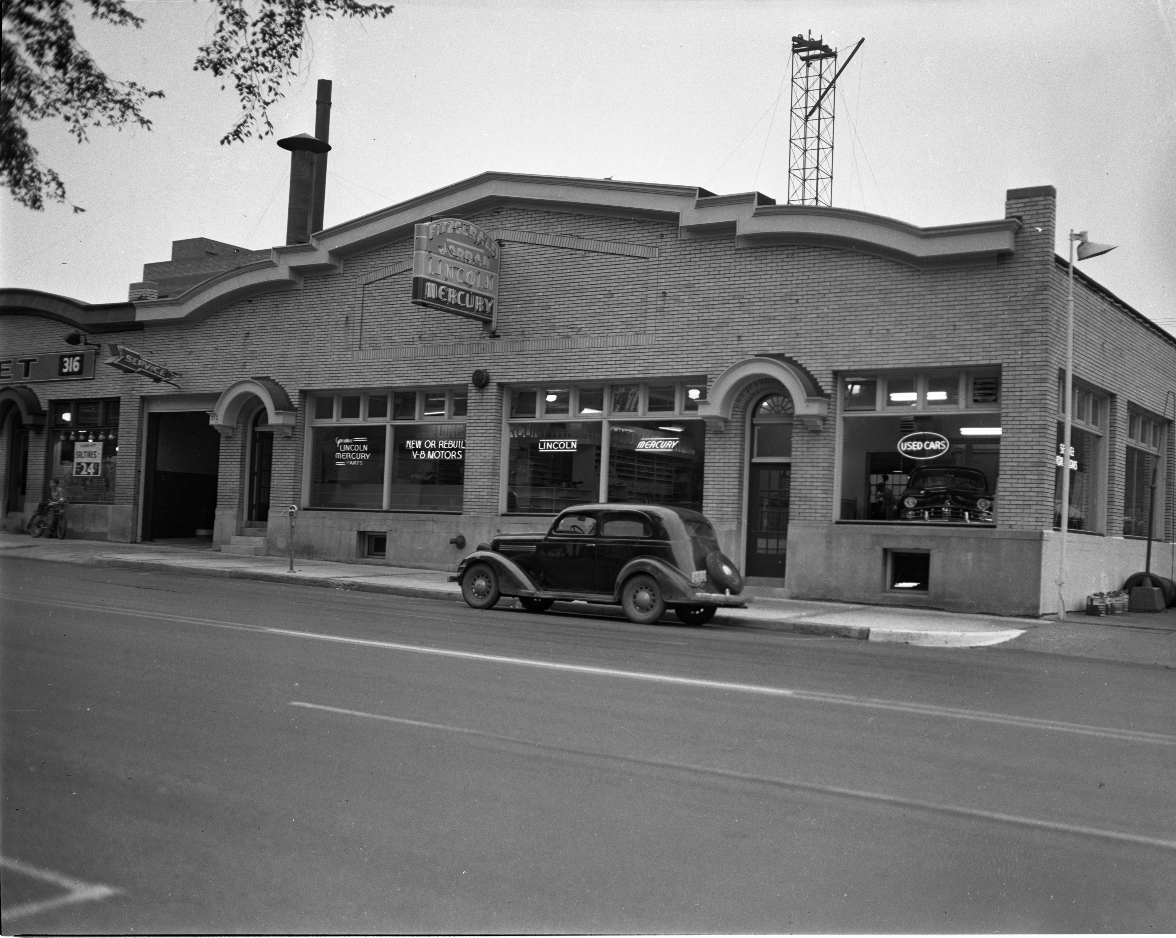 Fitzgerald-Jordan Lincoln-Mercury Dealership, Exterior Front Of Building, August 1948 image