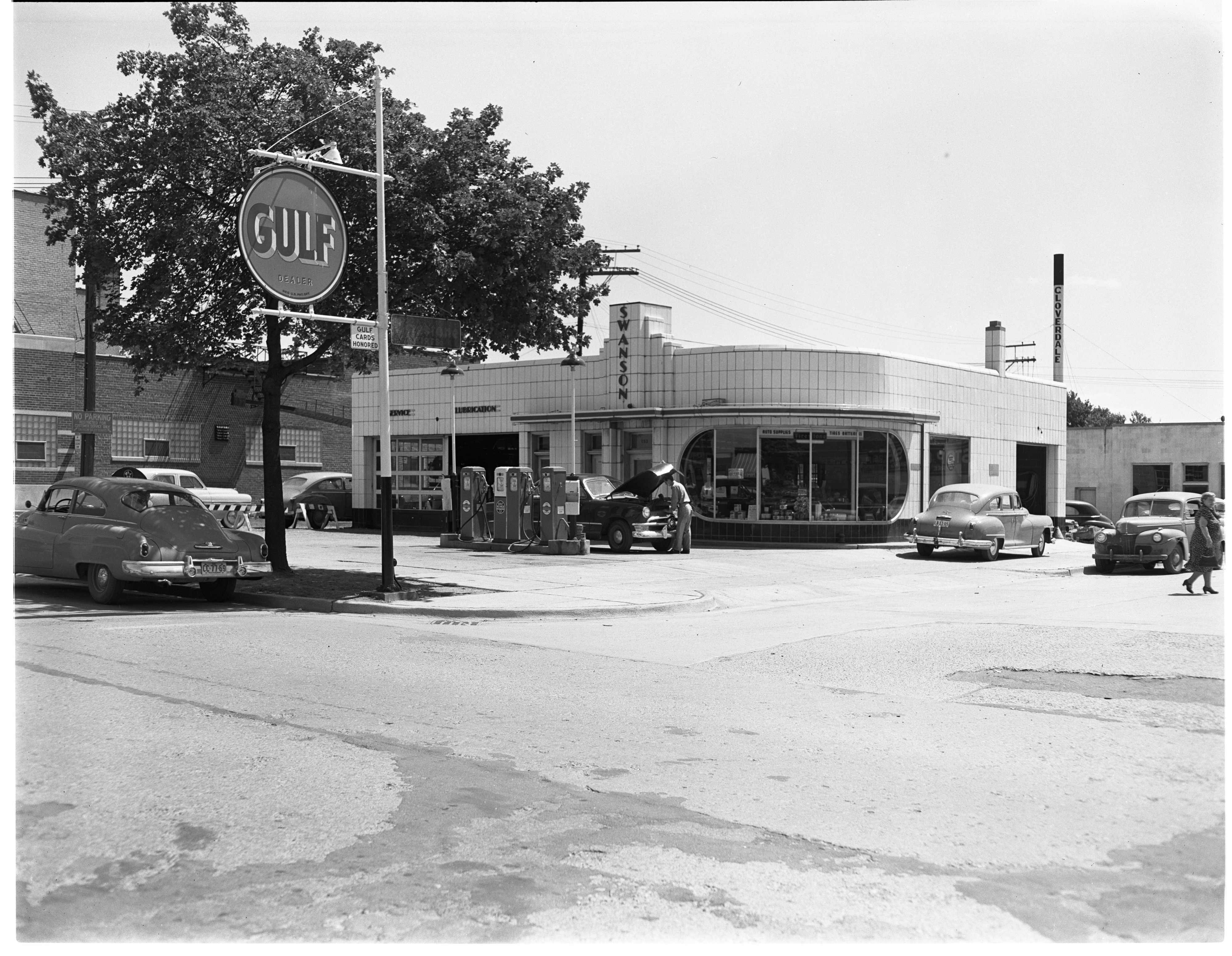 Swanson Service Center & Gulf Gas Station, August 1950 image