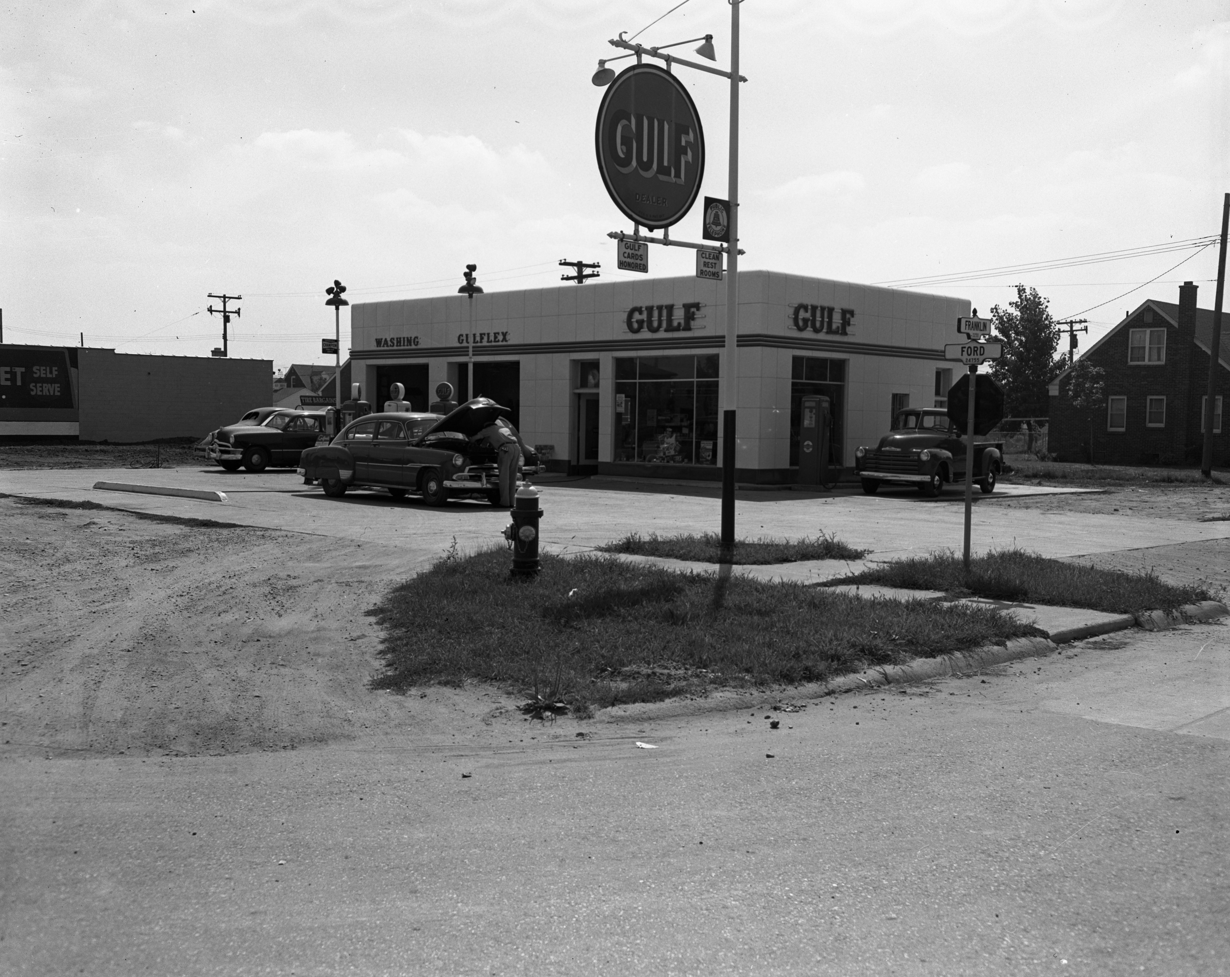 Gulf gas station, Franklin and Ford Rds., August 1951 image