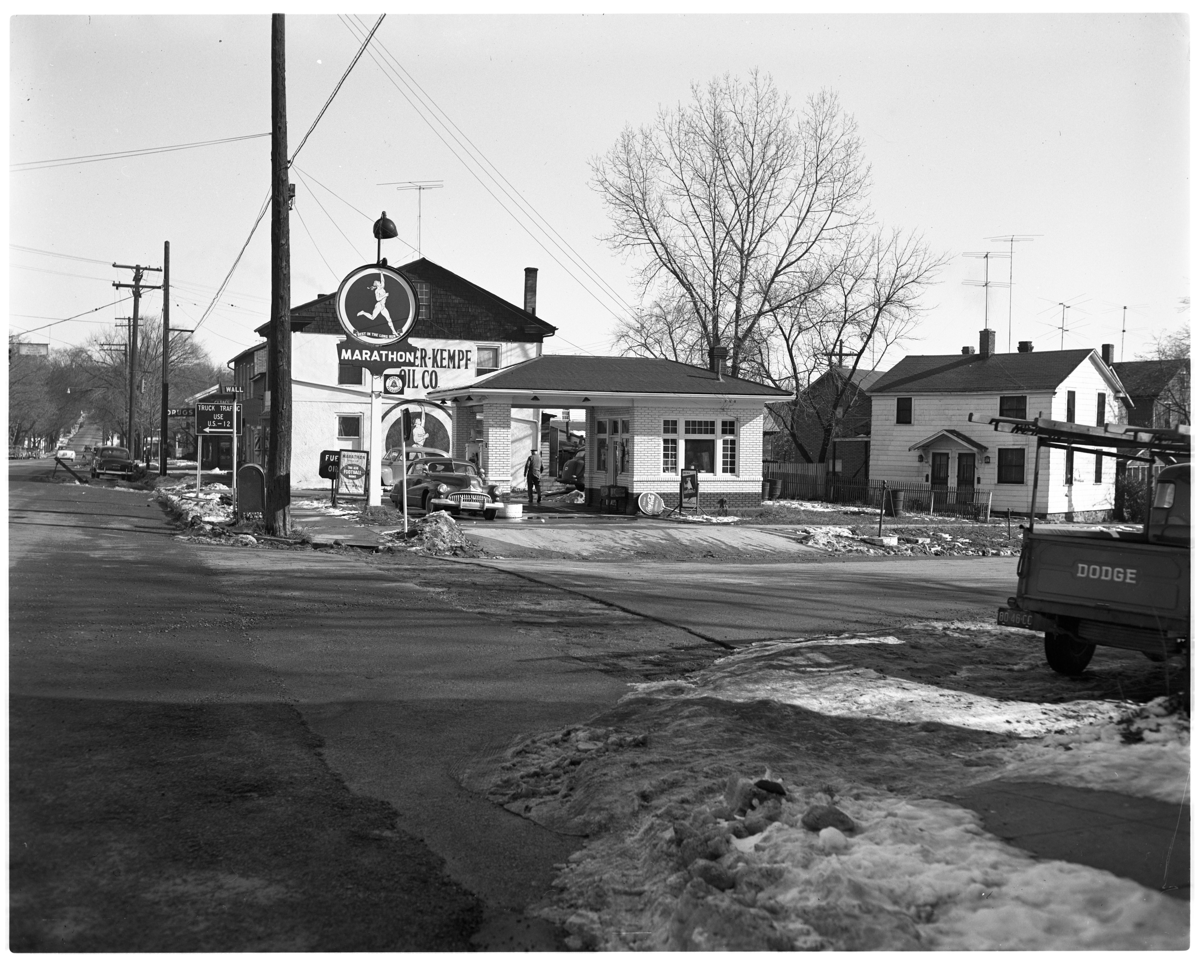 Staebler-Kempf Oil Co. and Marathon Station, November 1951 image