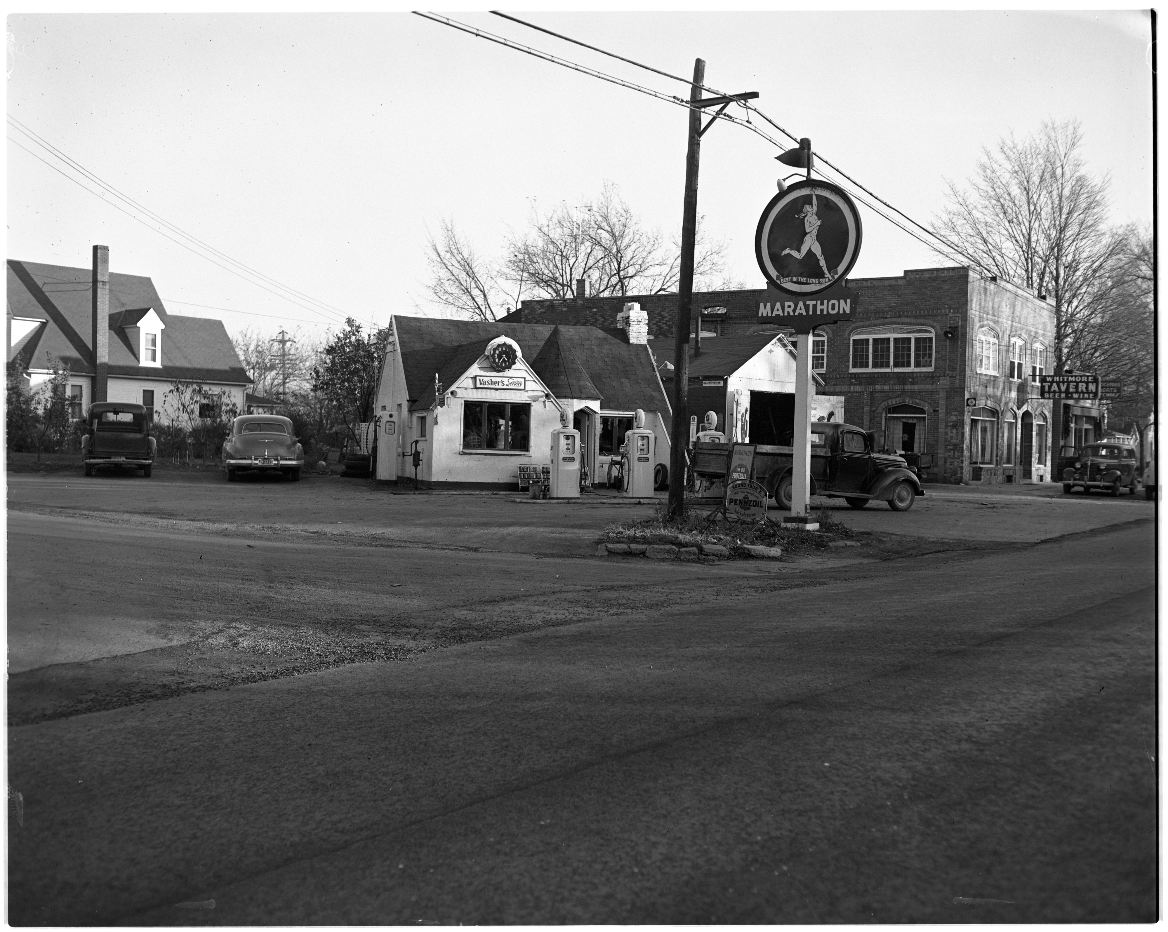 Vasher's Service and gas station, November 1951 image
