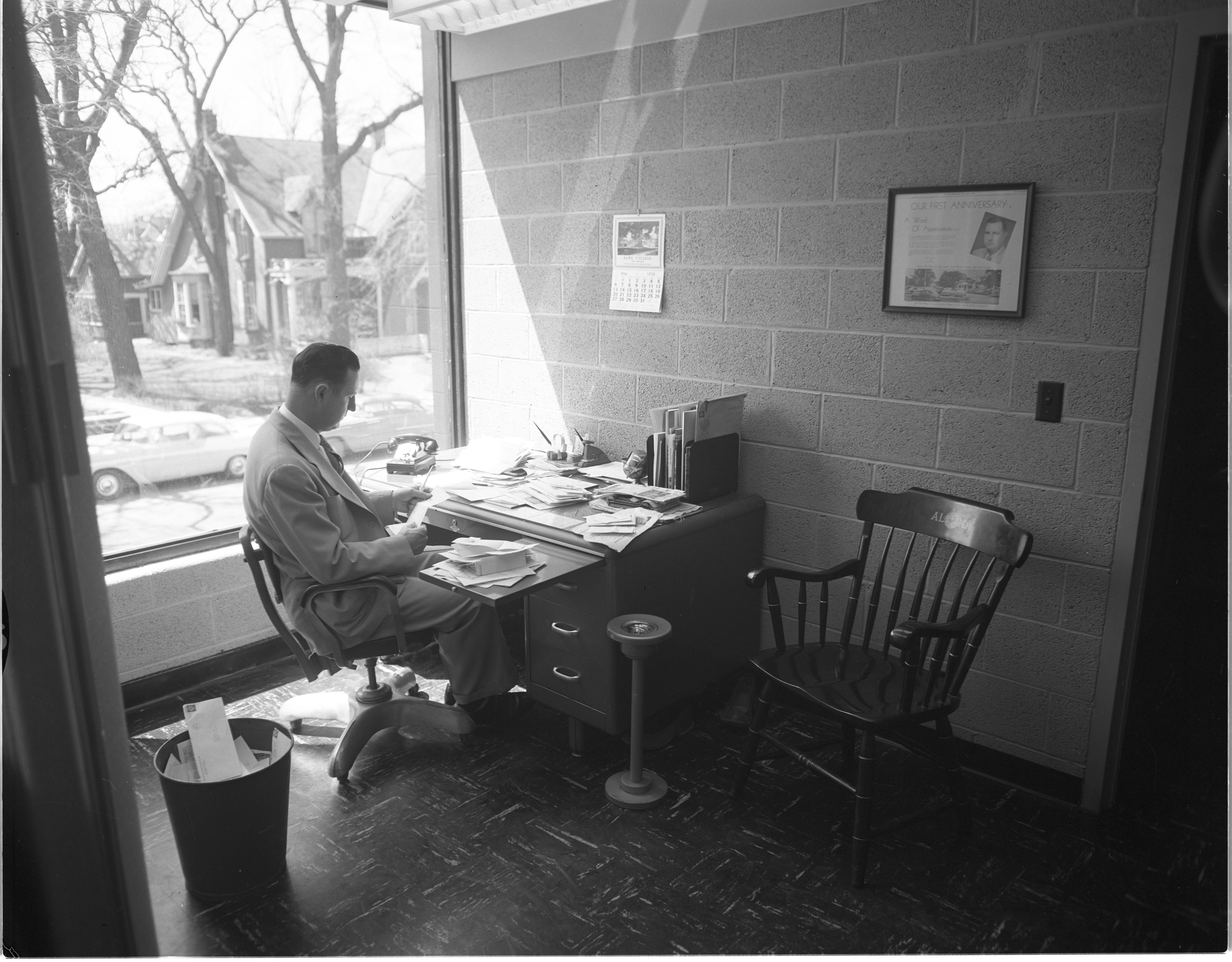 Herb Estes At Work In His New Building, May 1956 image