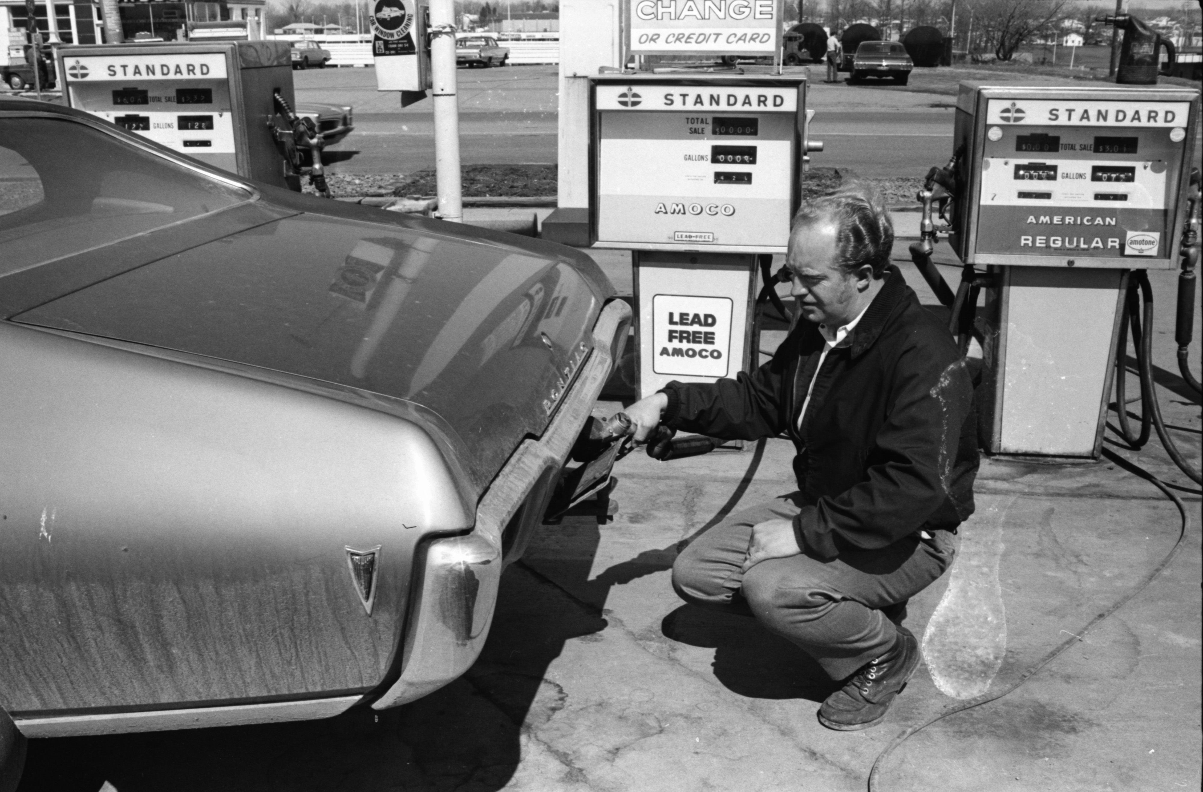 Filling Up at Hilbert's Garage, April, 1971 image