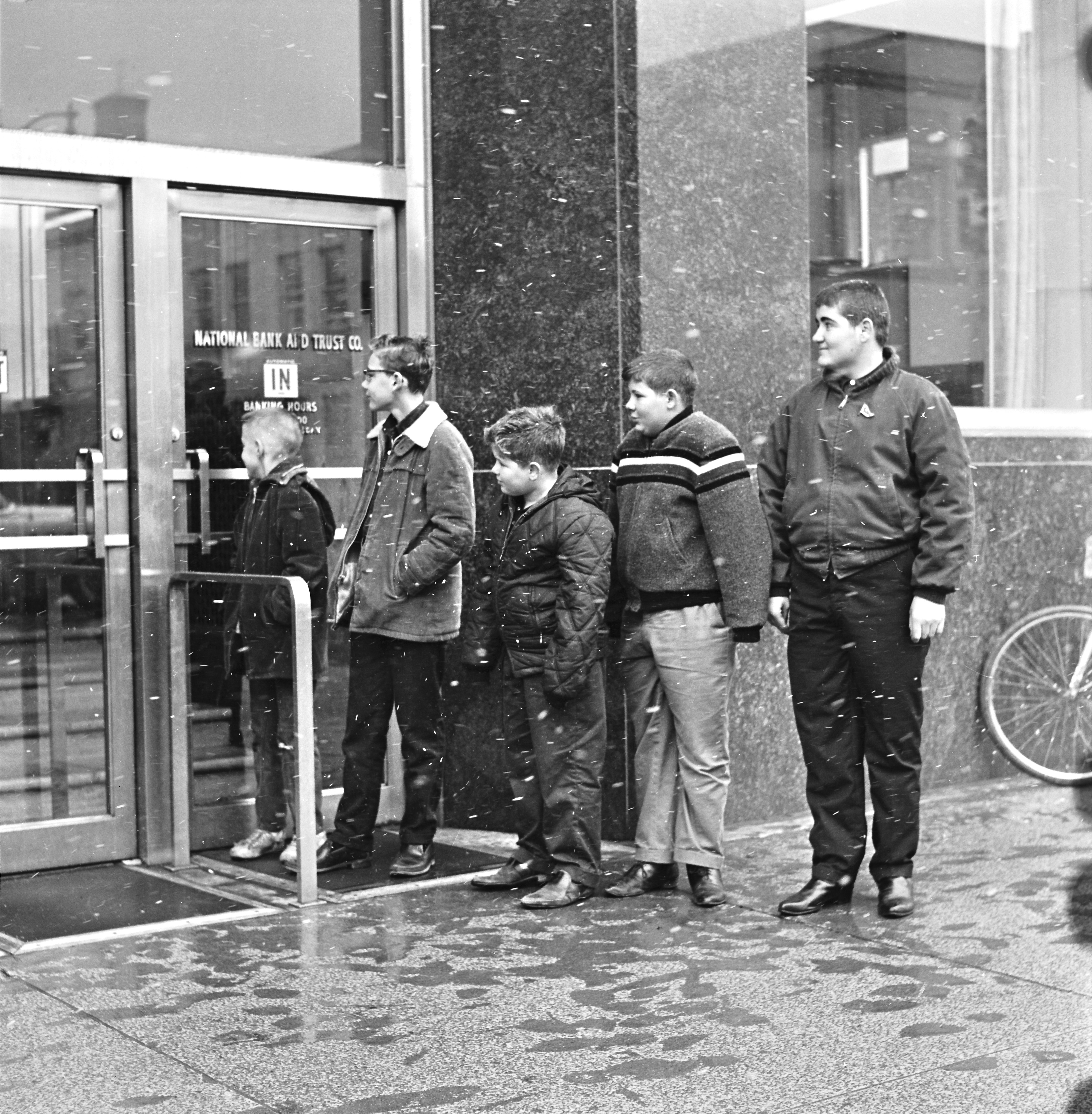 Waiting in Line Outside the National Bank and Trust Co. to Buy the New Kennedy Half Dollar, March 1964 image