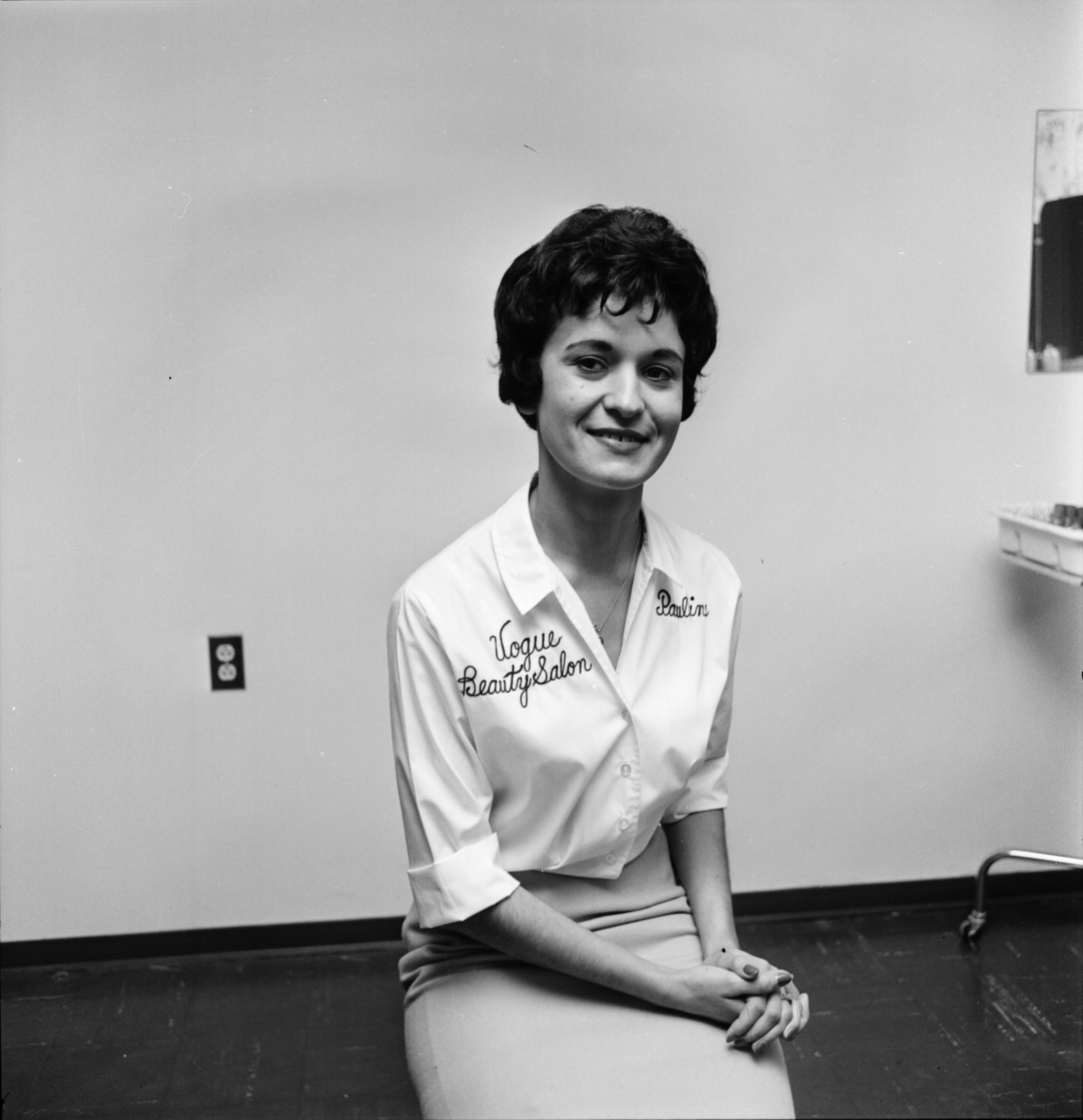 Pauline Woods, owner of the Vogue Beauty Salon, October 1961 image