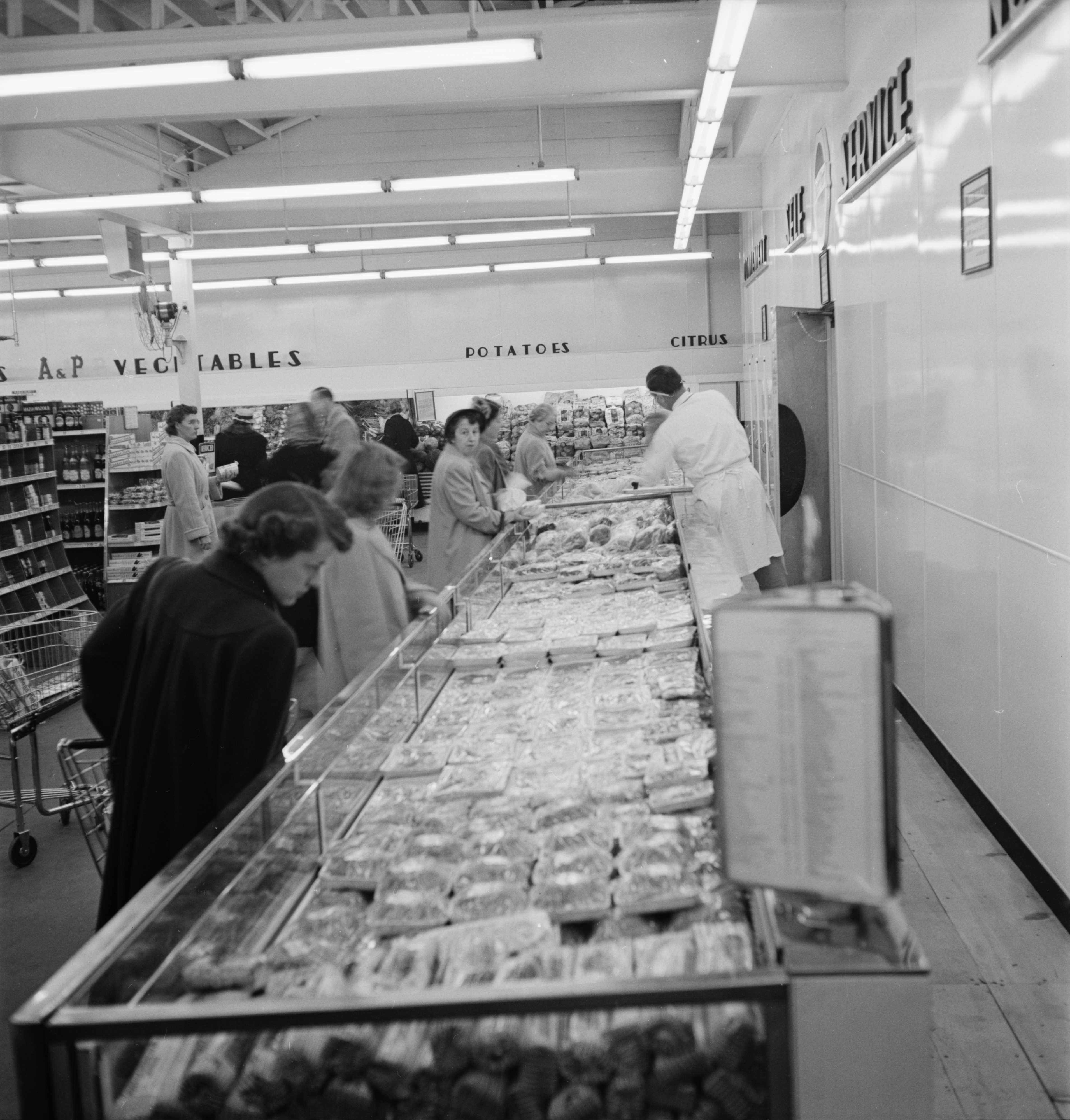 Self Serve Meat Counter at the A & P Store, November 1950 image