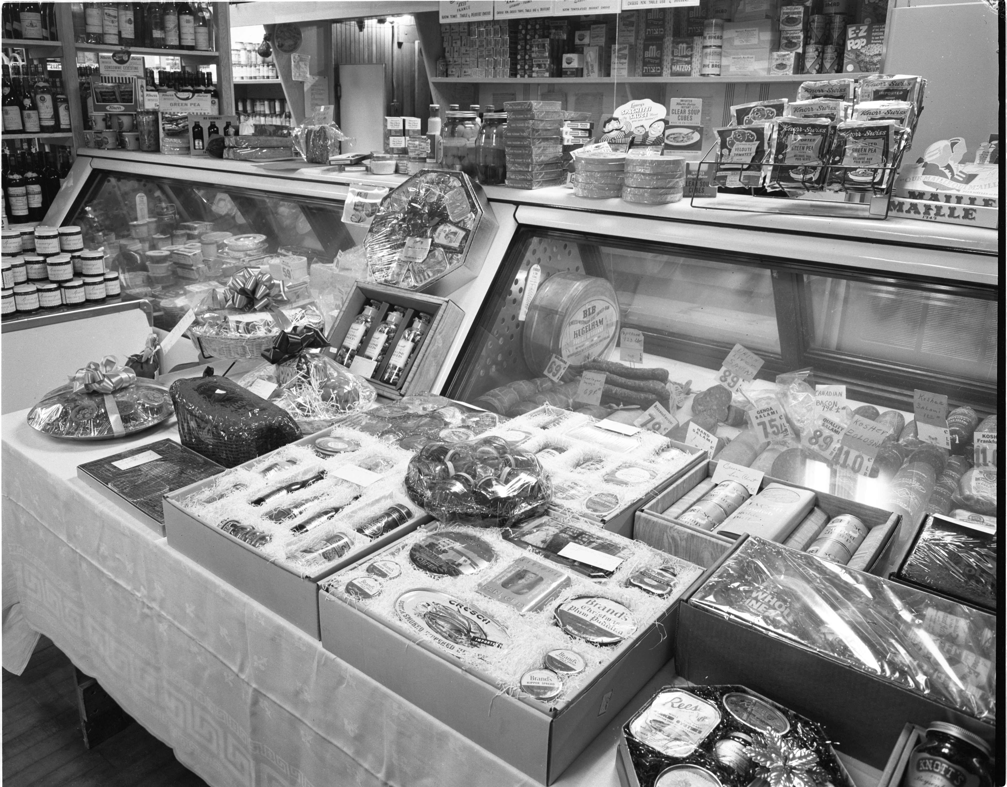 Meat Counter & Grocery Display At Big Ten Party Store, November 1955 image