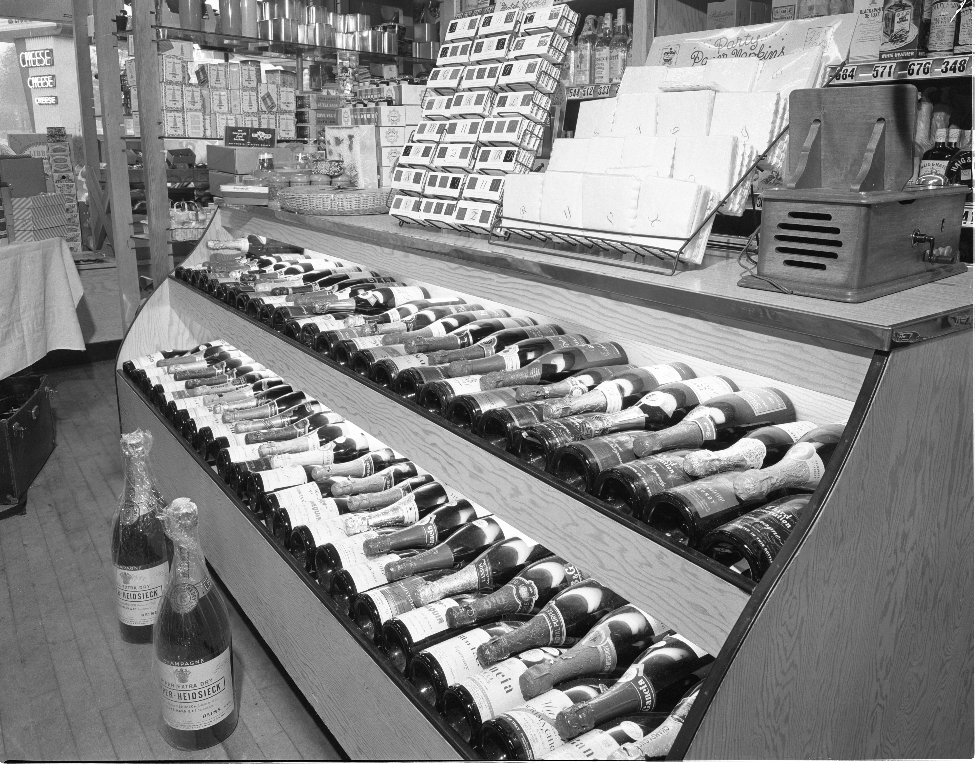 Wine Display At Big Ten Party Store, November 1955 image